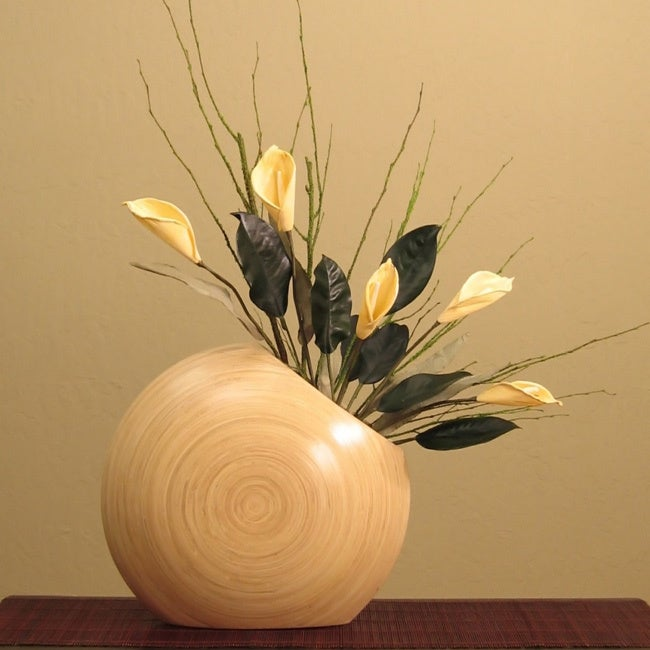 Shop Cala Lillies In Circle Bamboo Vase Free Shipping Today