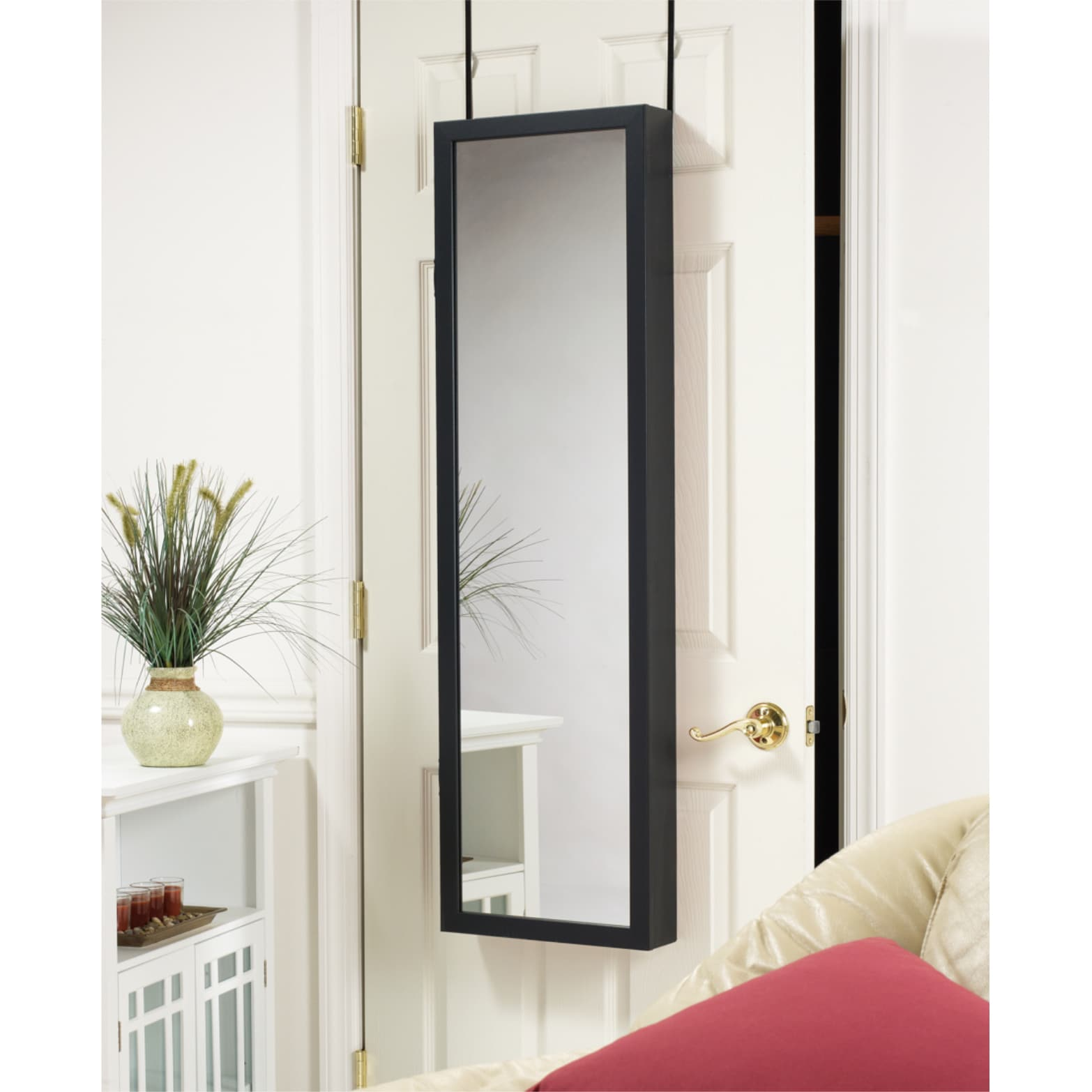 Black Over The Door Mirrored Jewelry Armoire Free Shipping Today 3538864