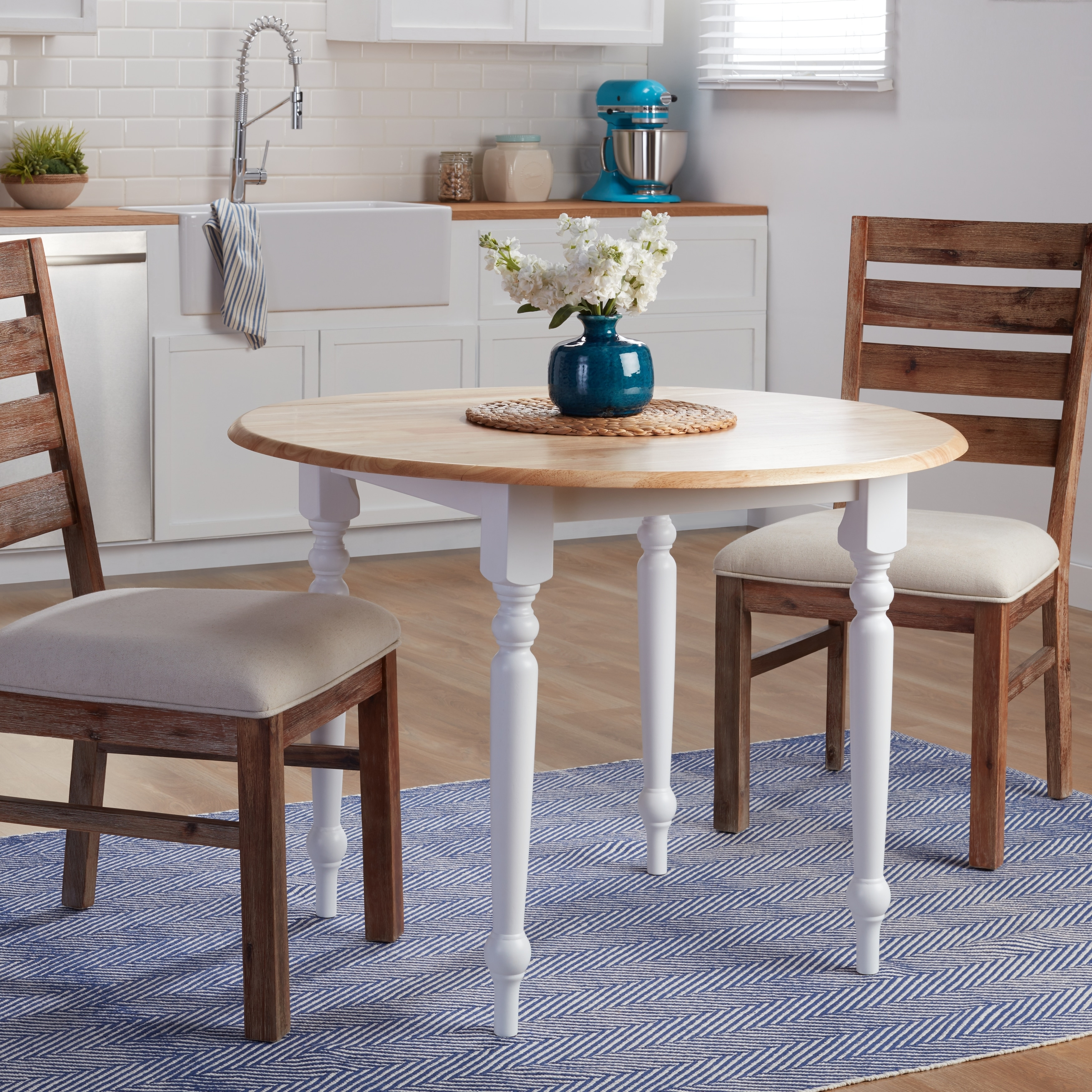 Simple Living Two Tone 40 Inch Rubberwood Round Drop Leaf Table