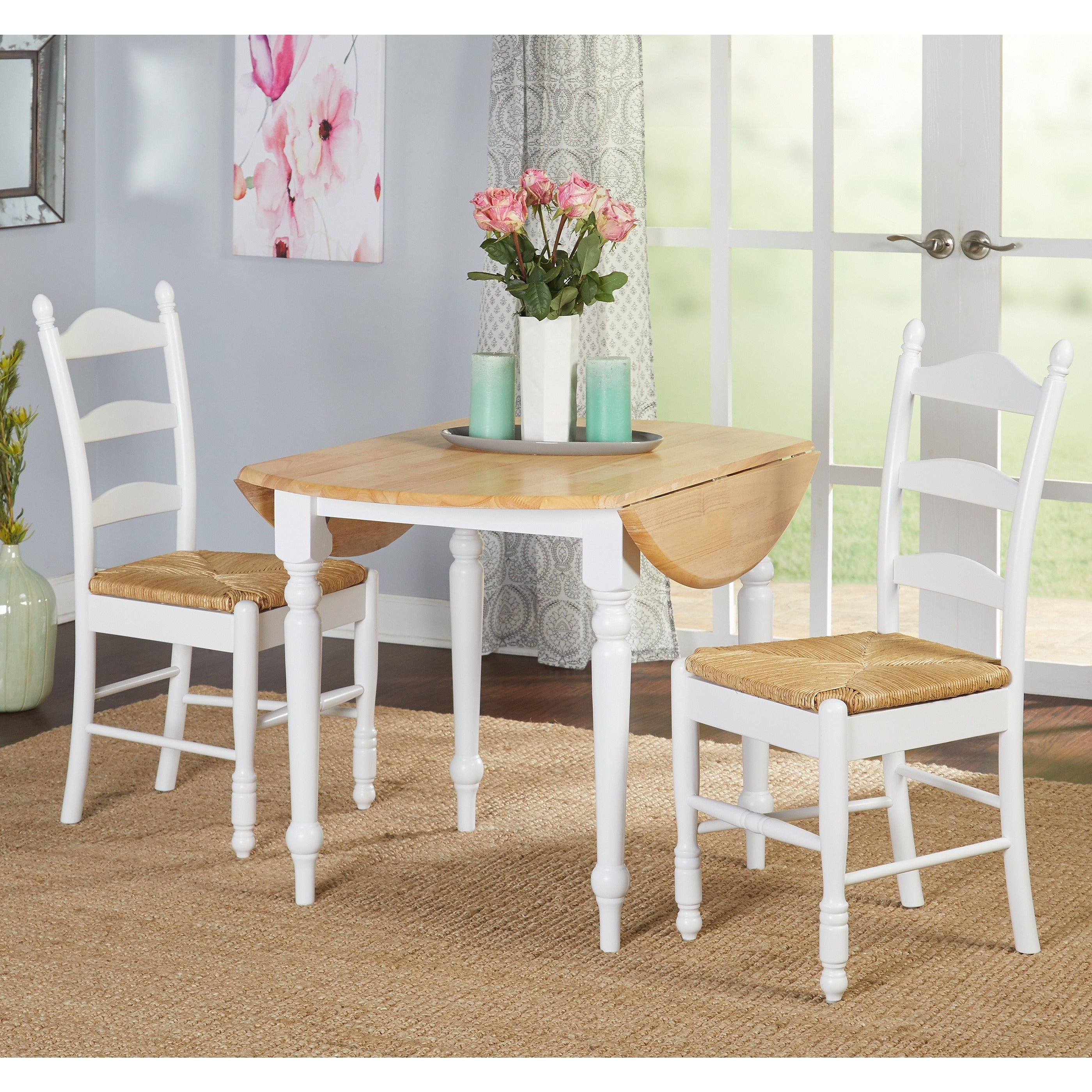 Delicieux Shop Two Tone 40 Inch Rubberwood Round Drop Leaf Table   Free Shipping  Today   Overstock.com   3545815