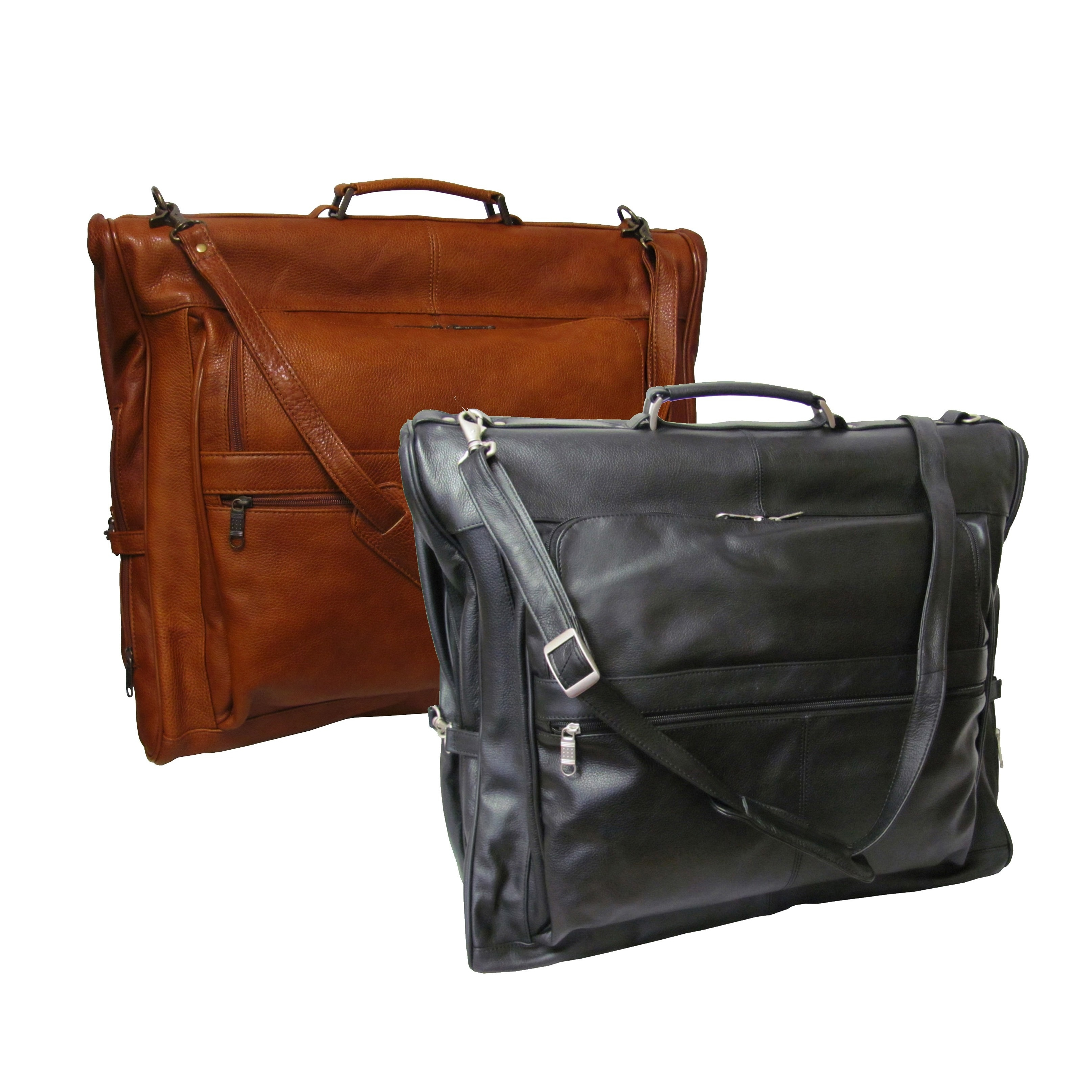Shop Amerileather Cowhide Leather 3-suit Garment Bag - Free Shipping ... 8b55b6adbb273