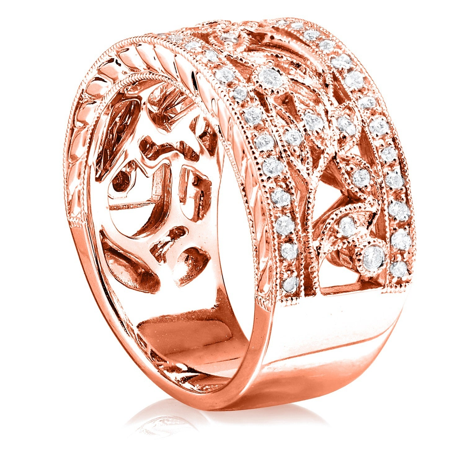 engraving milgrain contour pave vintage diamond with curved boston wedding ring rings products jewelry image band