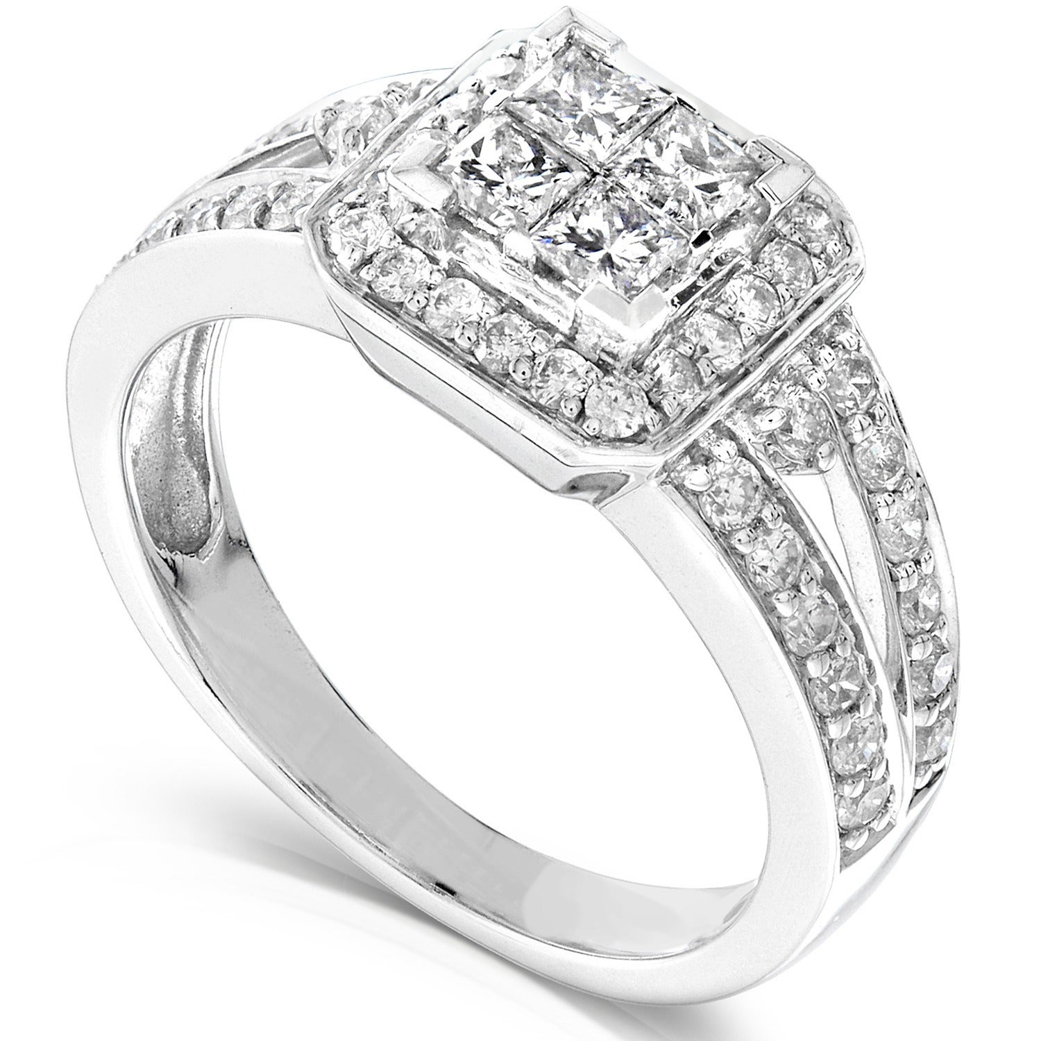 carat sterling bridal rings ip stone bride com quad diamond t set silver forever wedding w walmart in