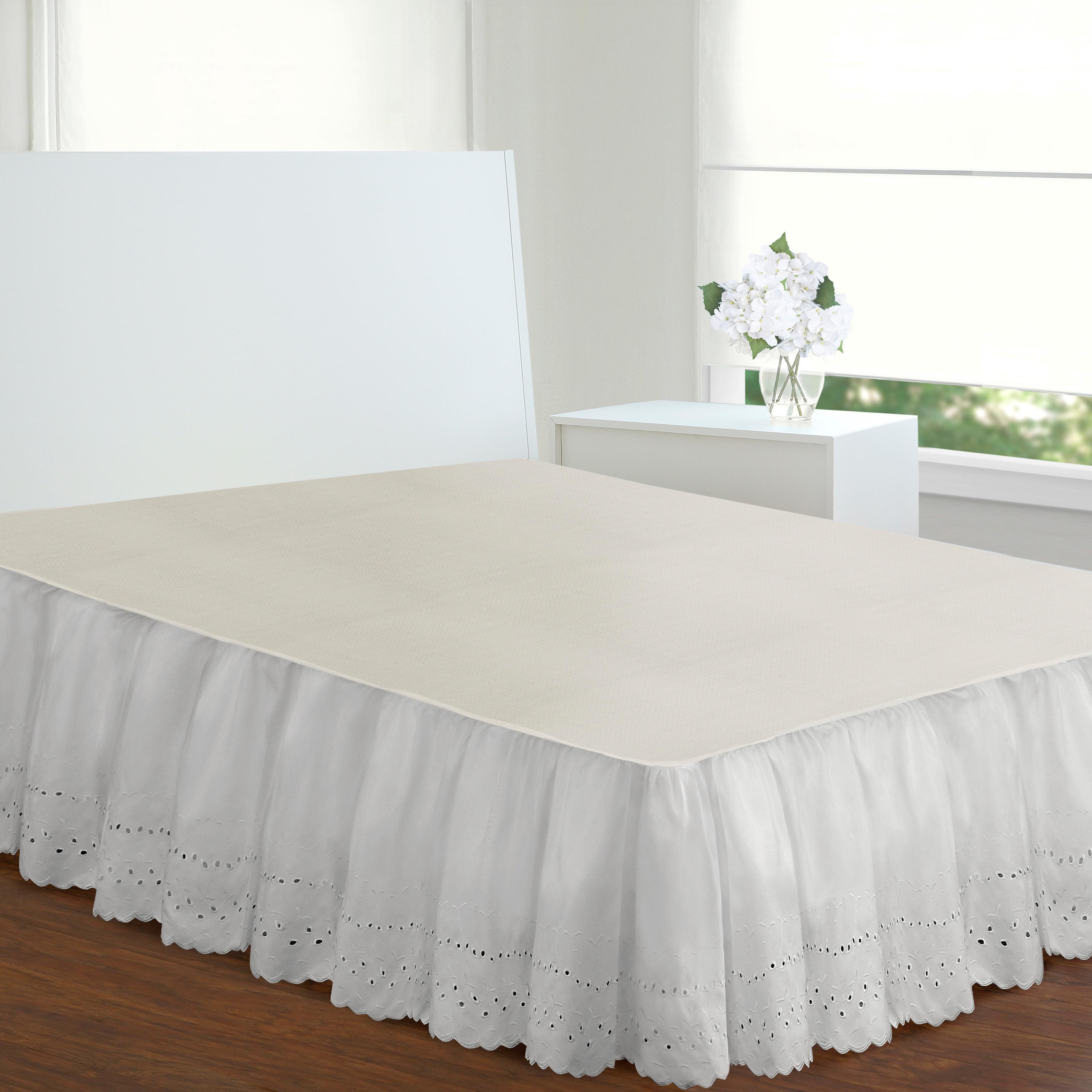 Ivory Cream Bedskirt Linen Bed Skirt Natural Ruffles Dust Ruffle Shabby Chic
