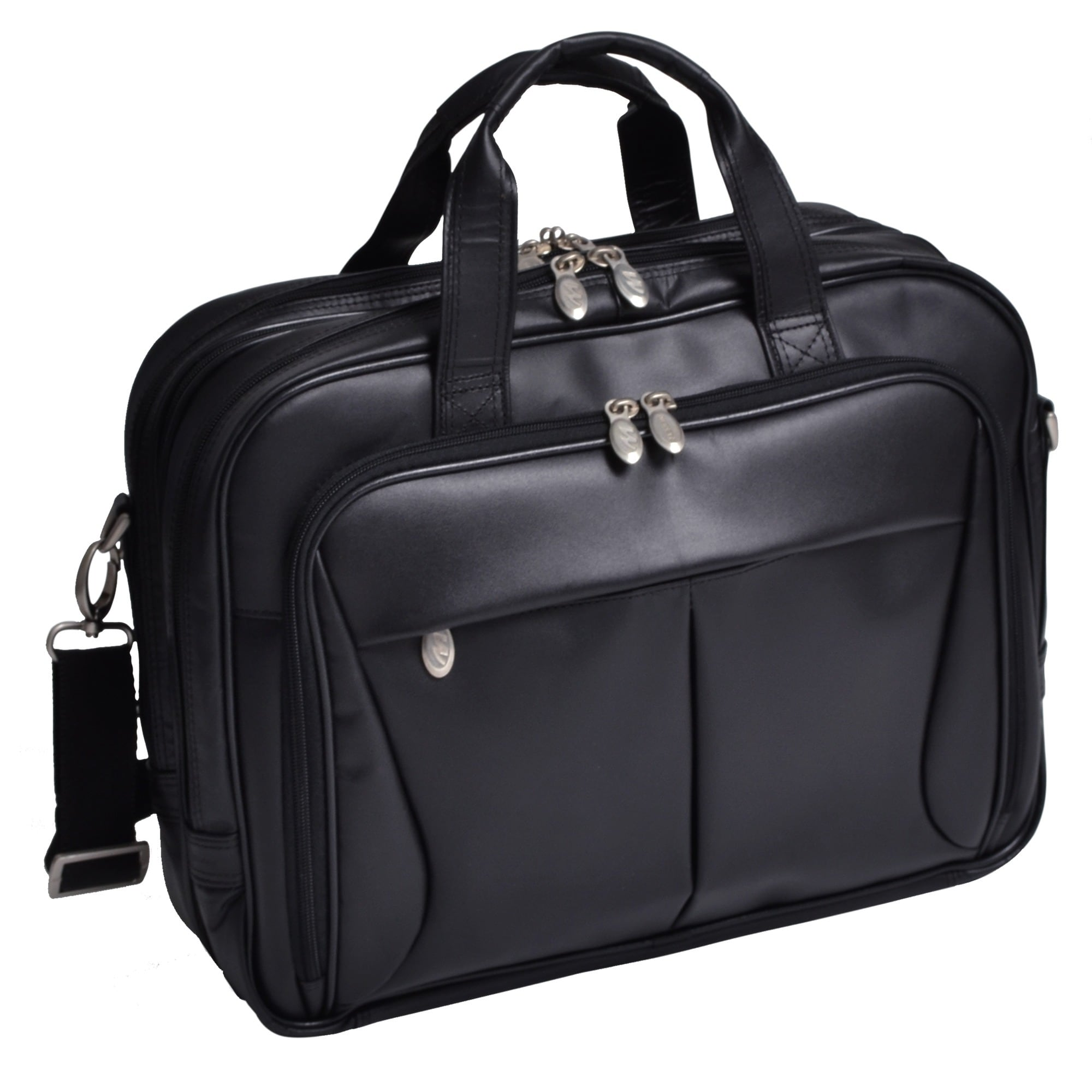 McKlein Black Pearson Expandable Double Compartment Briefcase - Free  Shipping Today - Overstock.com - 11728011