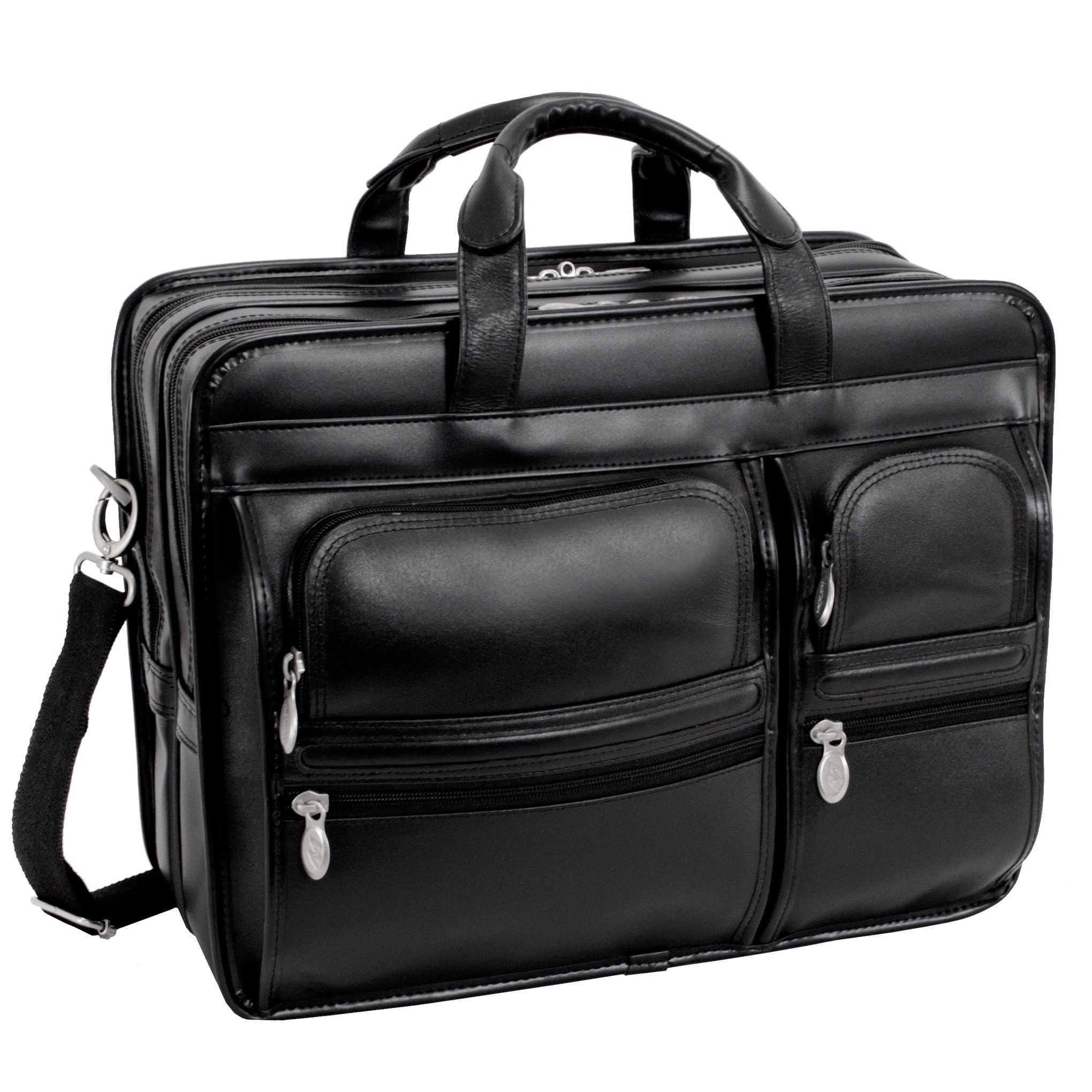 28fcb6d3801 Shop McKlein Black Clinton 17in. Detachable-Wheeled Laptop Case - Free  Shipping Today - Overstock.com - 3665582