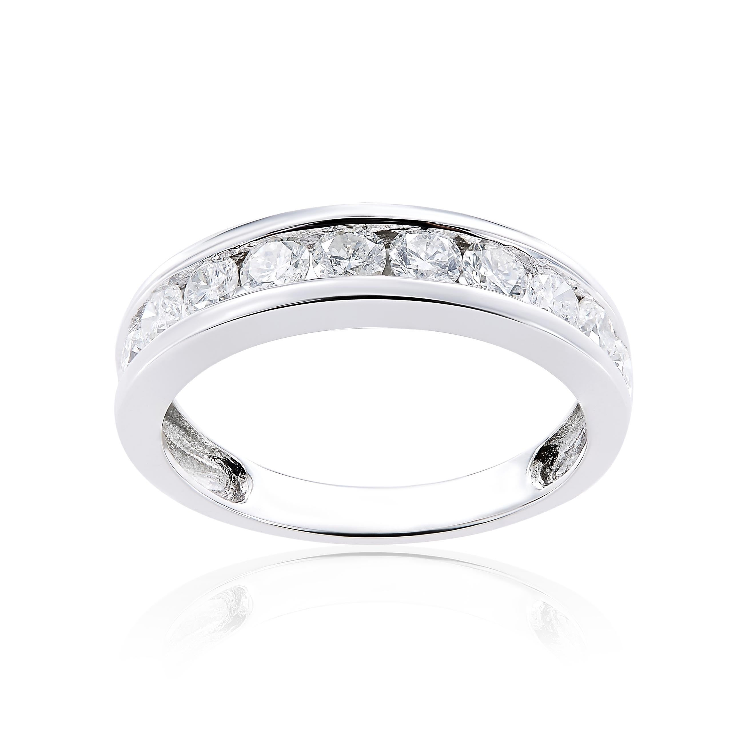 band miabella white ip w t in ring engagement stone three gold bands eternity diamond carat