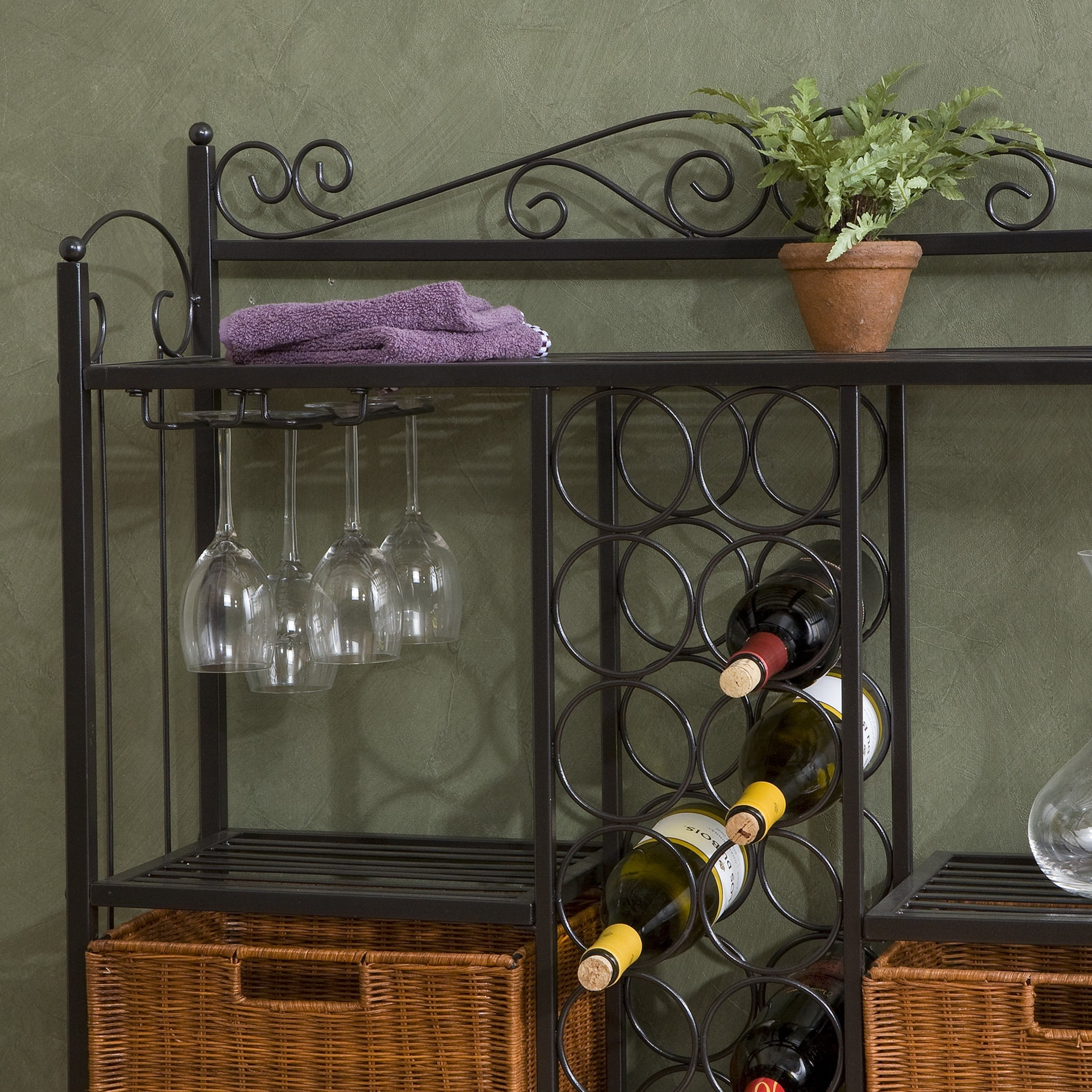 Shop Harper Blvd Bakeru0027s Rack With 12 Bottle Wine Storage   Free Shipping  Today   Overstock.com   3684083