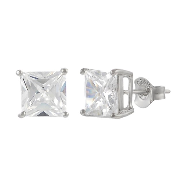 Journee Collection Sterling Silver 7mm Square Cubic Zirconia Stud Earrings Free Shipping On Orders Over 45 11748652