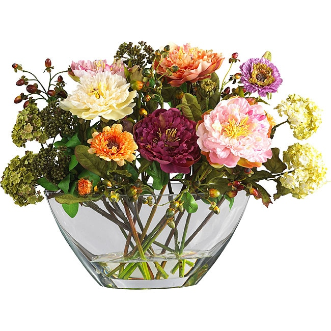 Shop Mixed Silk Peony Arrangement With Glass Vase Free Shipping