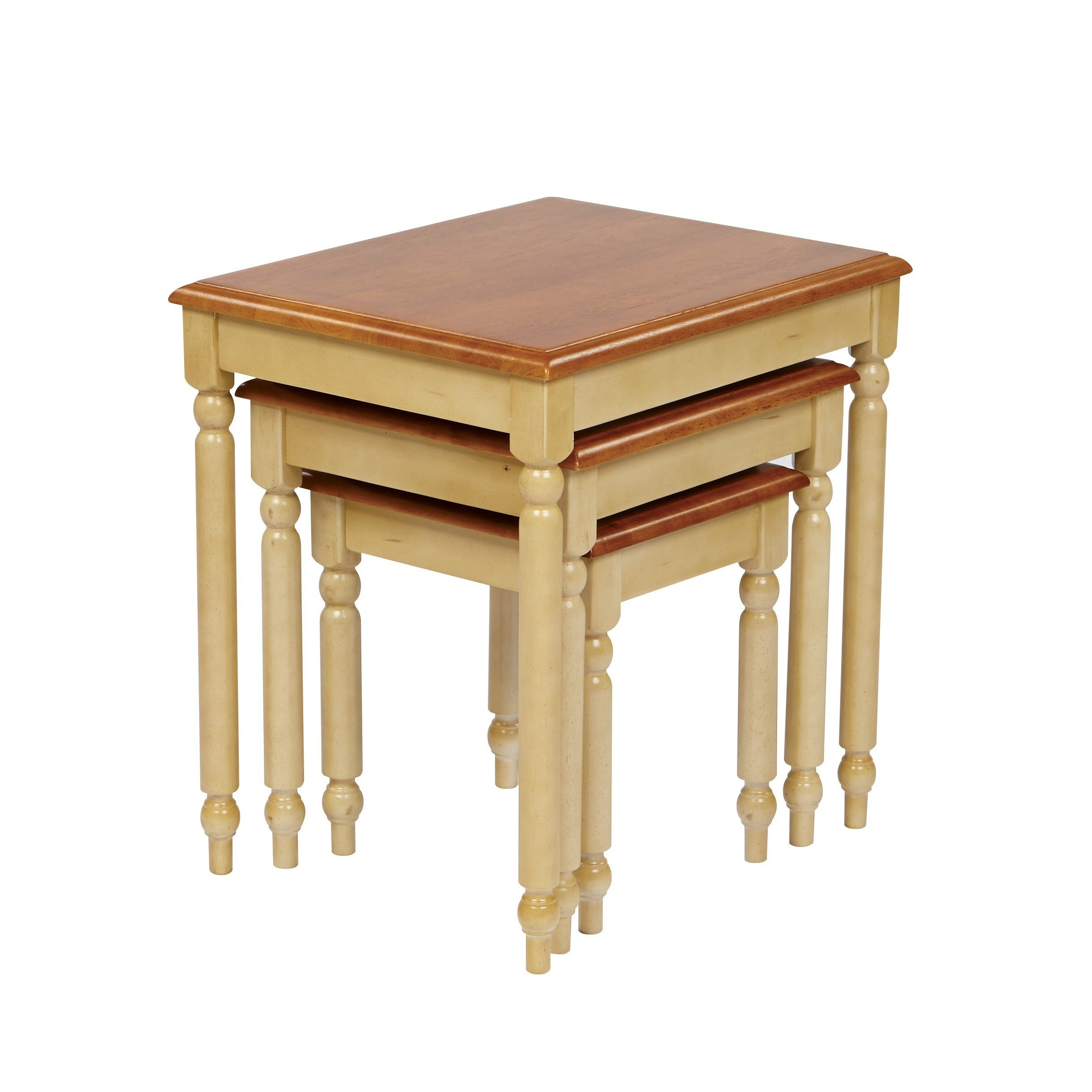 Admirable Osp Home Furnishings Country Cottage Buttermilk 3 Piece Nesting Table Set Home Interior And Landscaping Oversignezvosmurscom