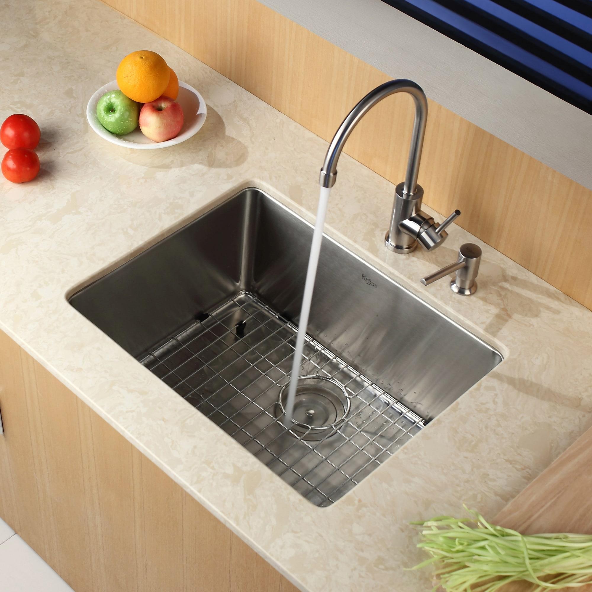 Shop kraus khu101 23 standart pro undermount 23 inch 16 gauge single bowl satin stainless steel kitchen sink free shipping today overstock com 3730988