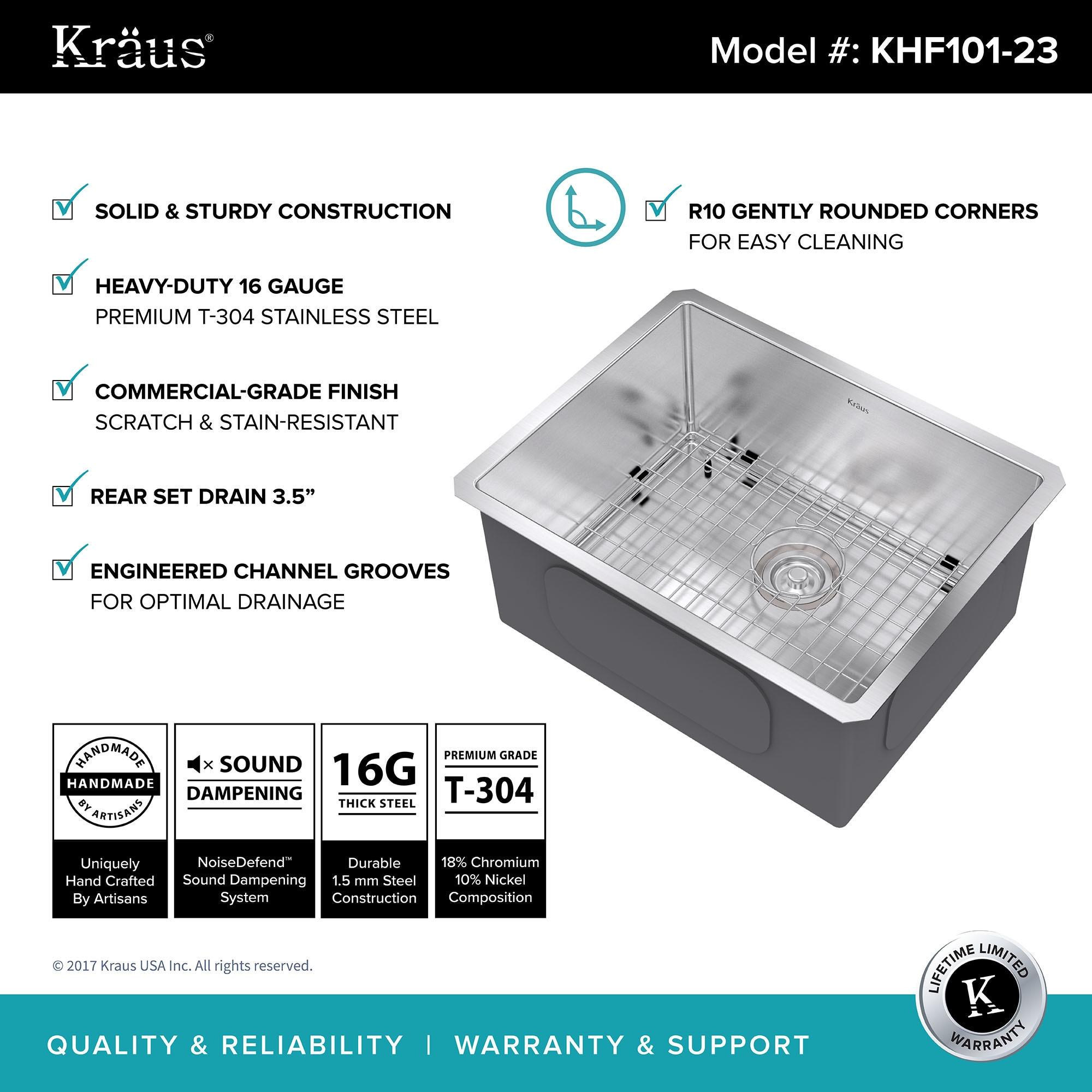 """shop kraus khu101 23 undermount 23 in 16g 1 bowl satin stainless rh overstock com 24"""" Single Undermount Sink 24 Double Bowl Undermount Sink"""