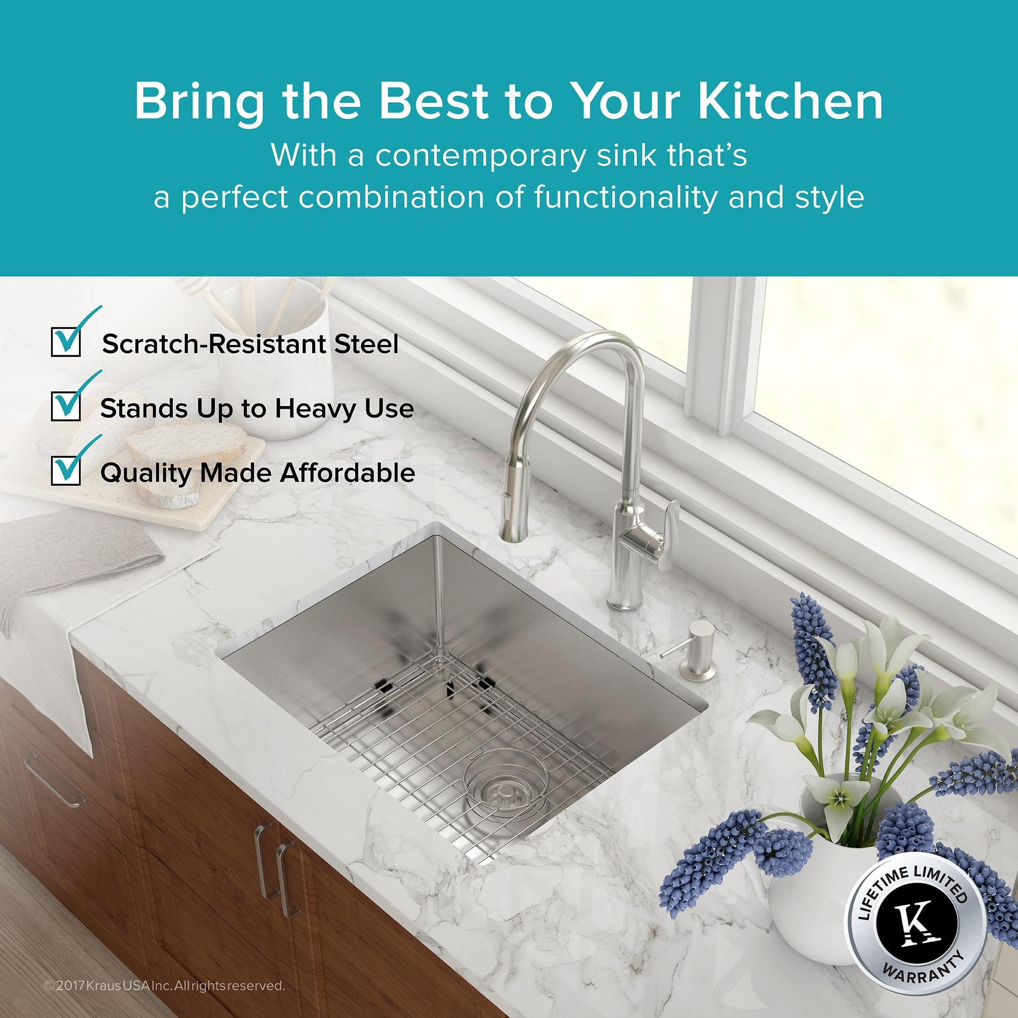 shop kraus khu101 23 undermount 23 in 16g 1 bowl satin stainless rh overstock com 18 Inch Kitchen Sinks 24 Live Edge Undermount Sink
