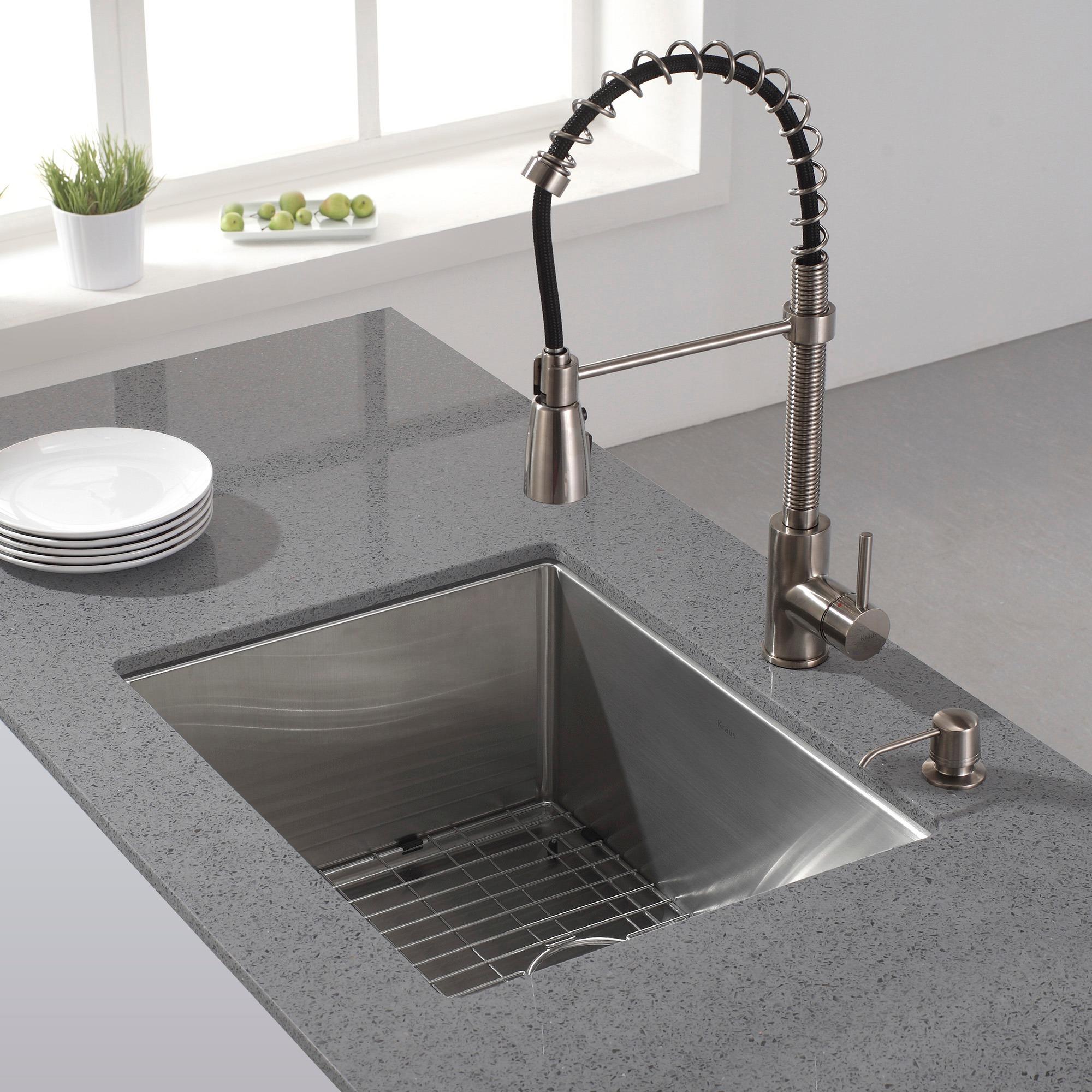 shop kraus khu101 23 undermount 23 in 16g 1 bowl satin stainless rh overstock com 24 Live Edge Undermount Sink 24 Double Bowl Undermount Sink