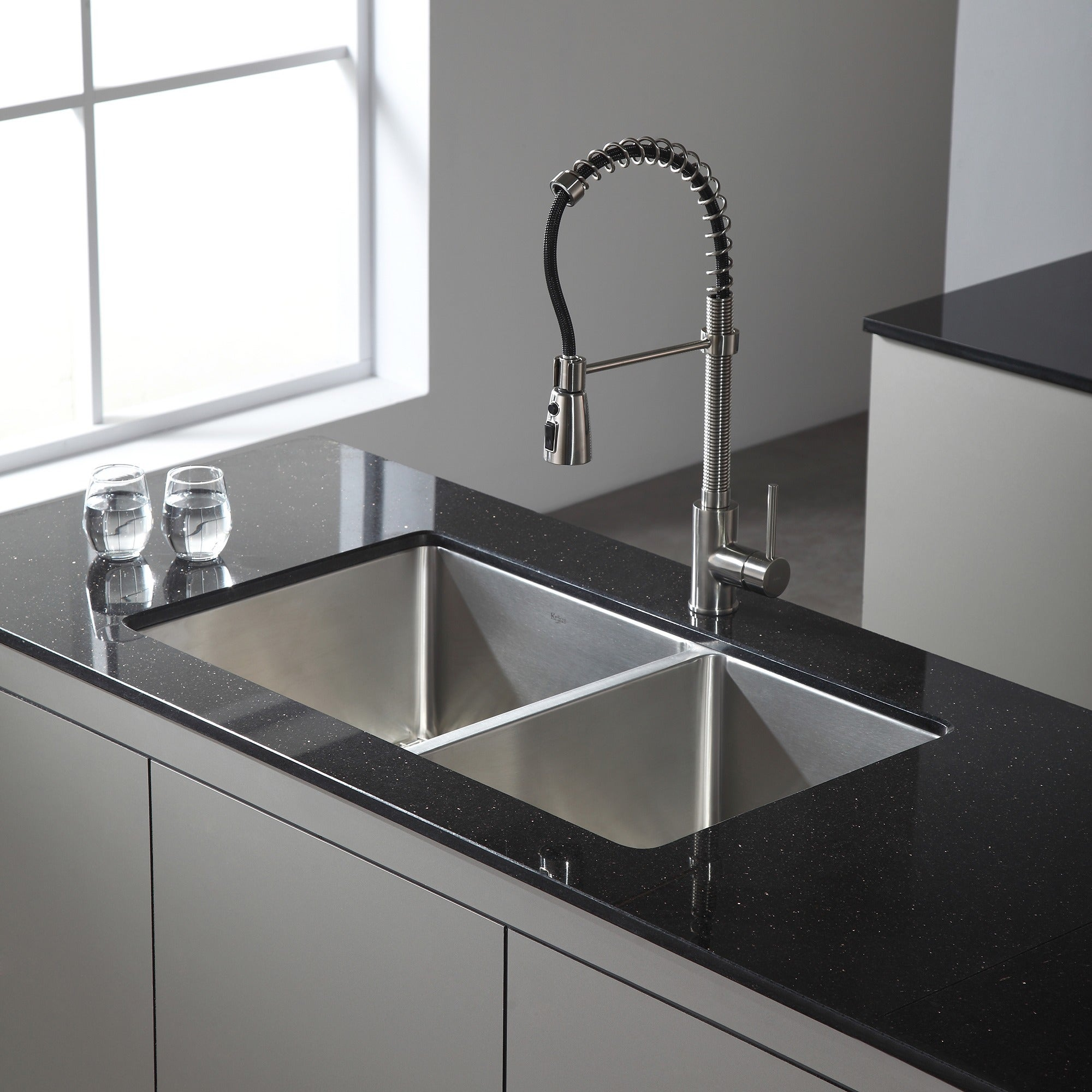 Kraus 33 Inch Undermount 50 Double Bowl 16 Gauge Stainless Steel Kitchen Sink With Noisedefend Soundproofing Free Shipping Today