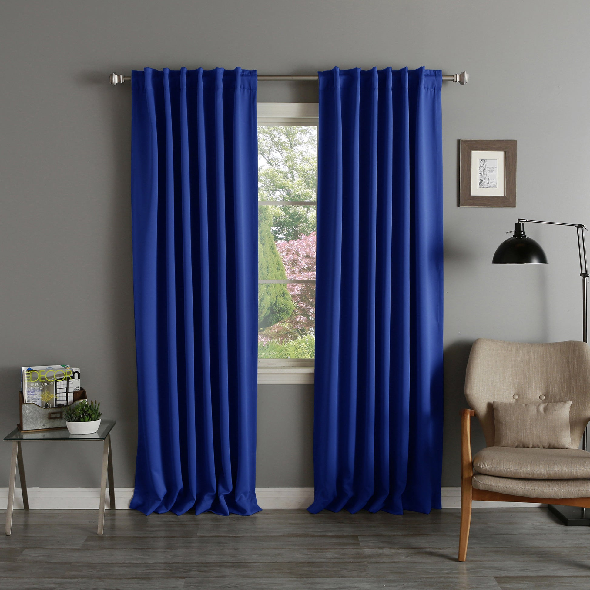 Shop Aurora Home Thermal Rod Pocket 96 Inch Blackout Curtain Panel Pair