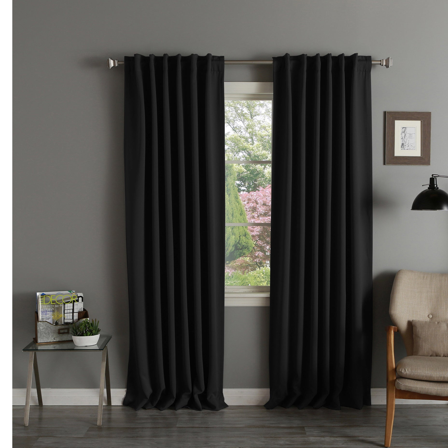 8af3ad63101 Shop Aurora Home Thermal Rod Pocket 96-inch Blackout Curtain Panel Pair -  52 x 96 - On Sale - Free Shipping Today - Overstock - 3822089
