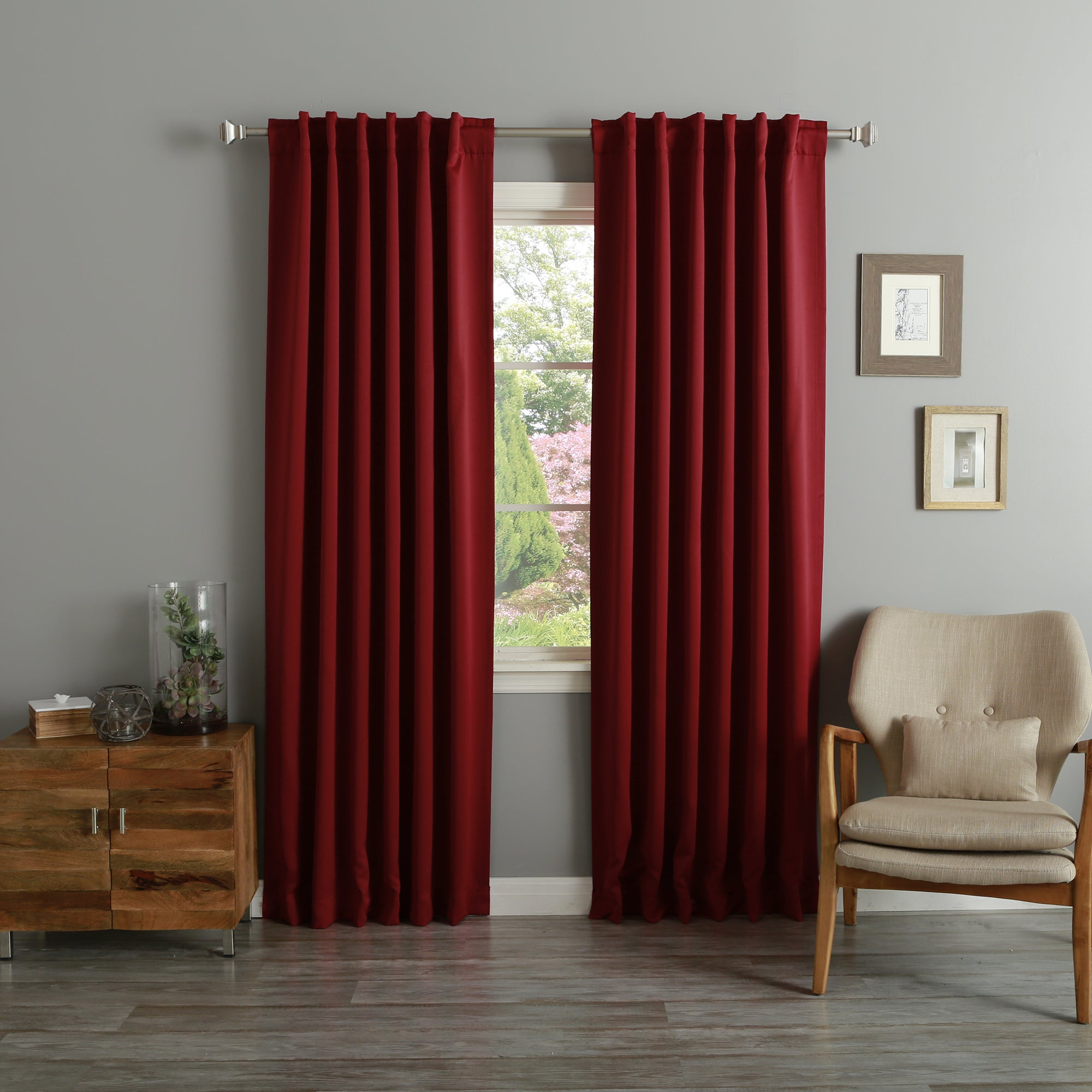 Aurora Home Thermal Rod Pocket 96 Inch Blackout Curtain Panel Pair 52 X