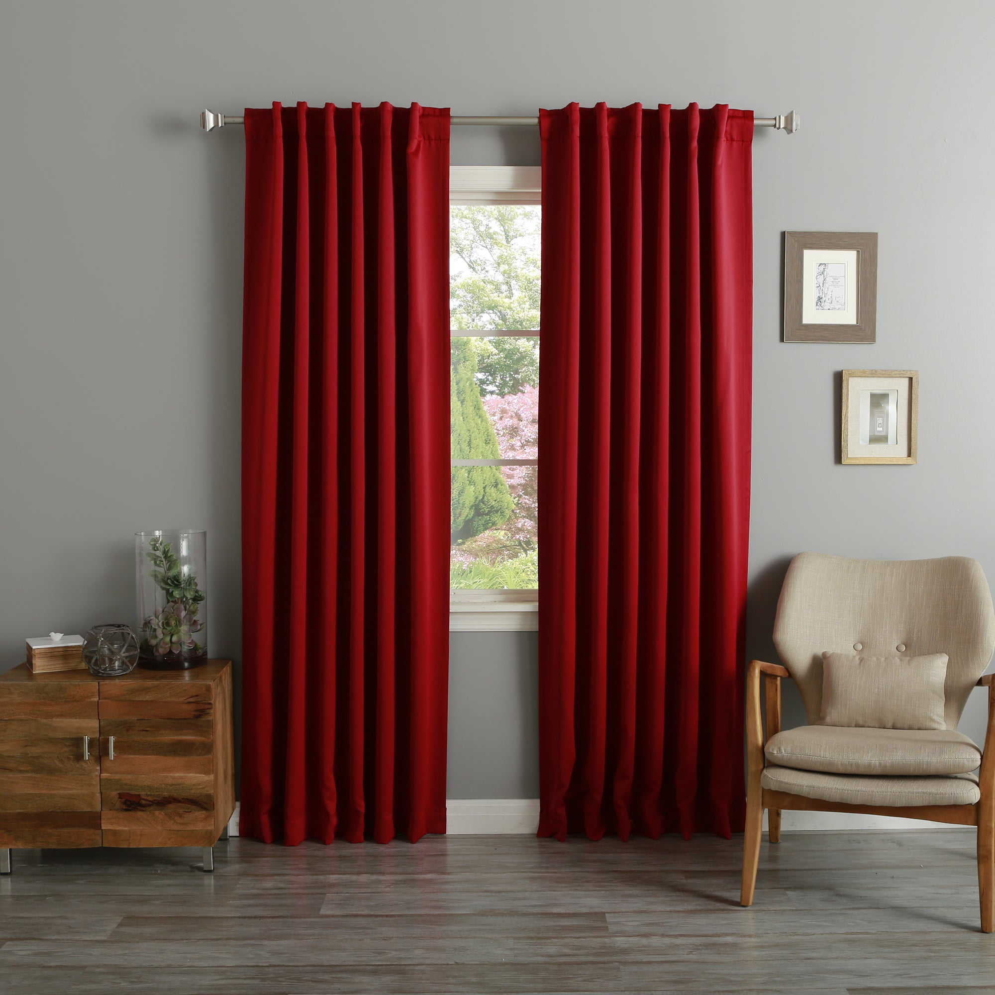 Top Aurora Home Thermal Rod Pocket 96-inch Blackout Curtain Panel Pair  KT32