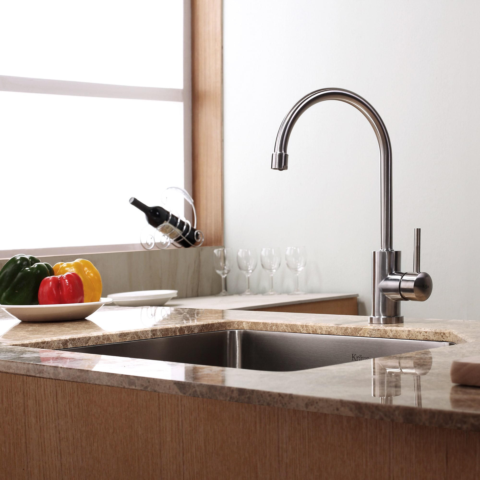 KRAUS Single-Handle Solid Stainless Steel Kitchen Bar Faucet - Free ...