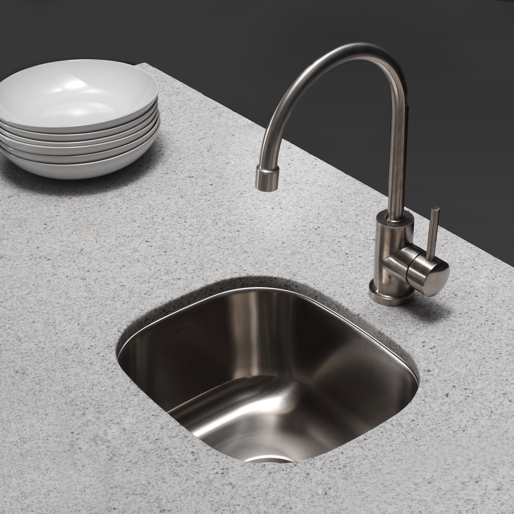 Shop KRAUS Single-Handle Solid Stainless Steel Kitchen Bar Faucet ...