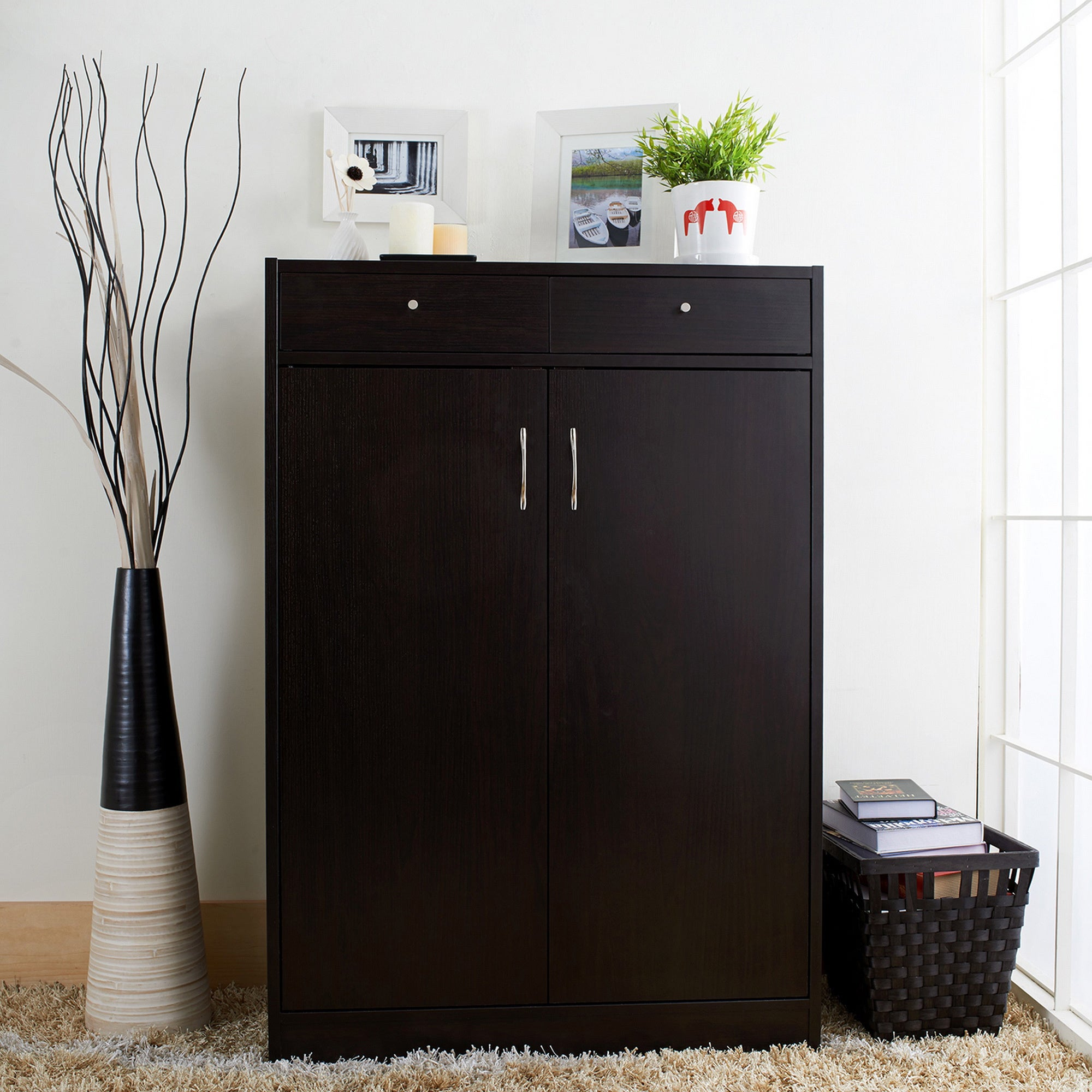 Genial Shop Furniture Of America 5 Shelf Shoe Cabinet With 2 Storage Bins   Free  Shipping Today   Overstock.com   3874178