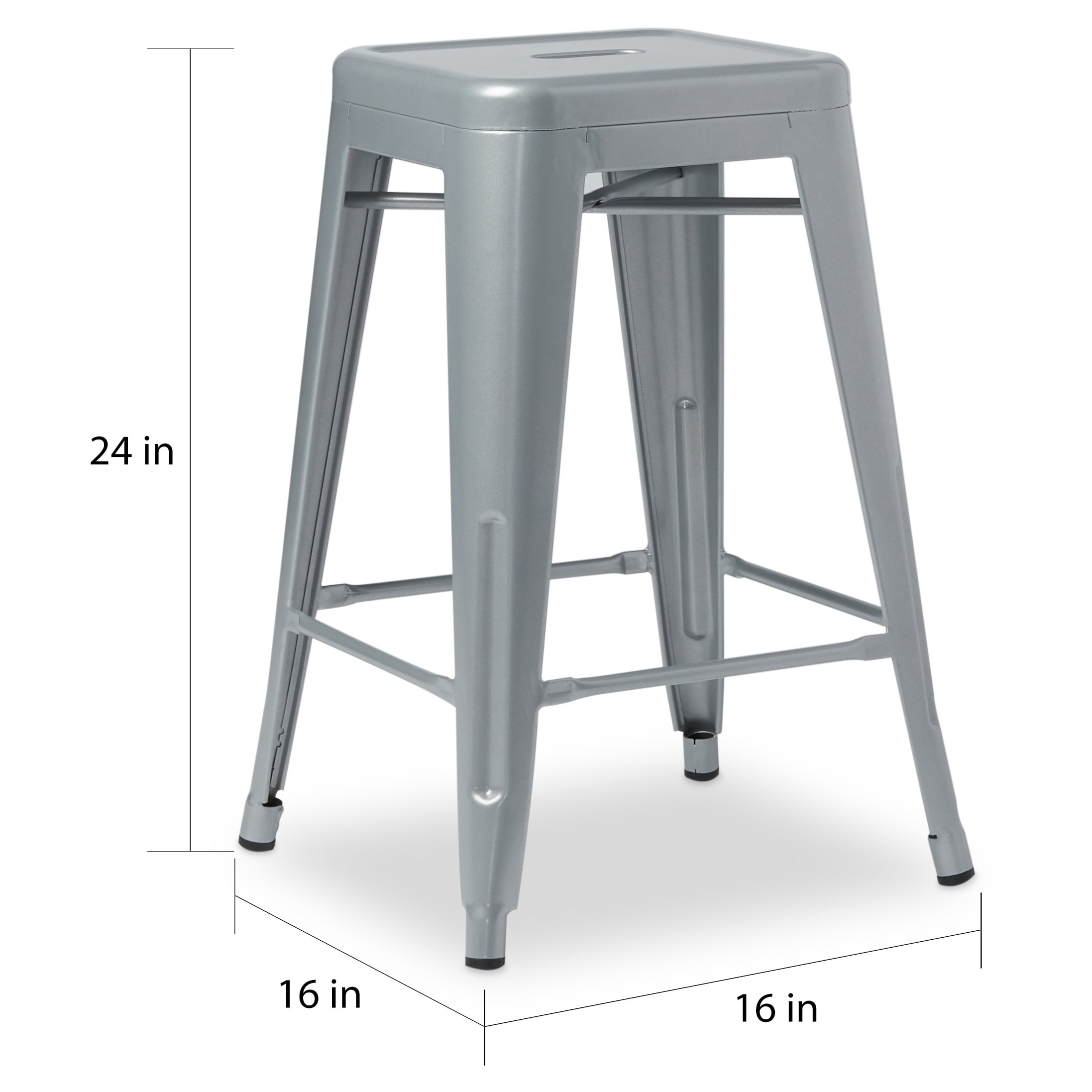 Shop Tabouret 24 Inch Metal Counter Stools Set Of 2 Free