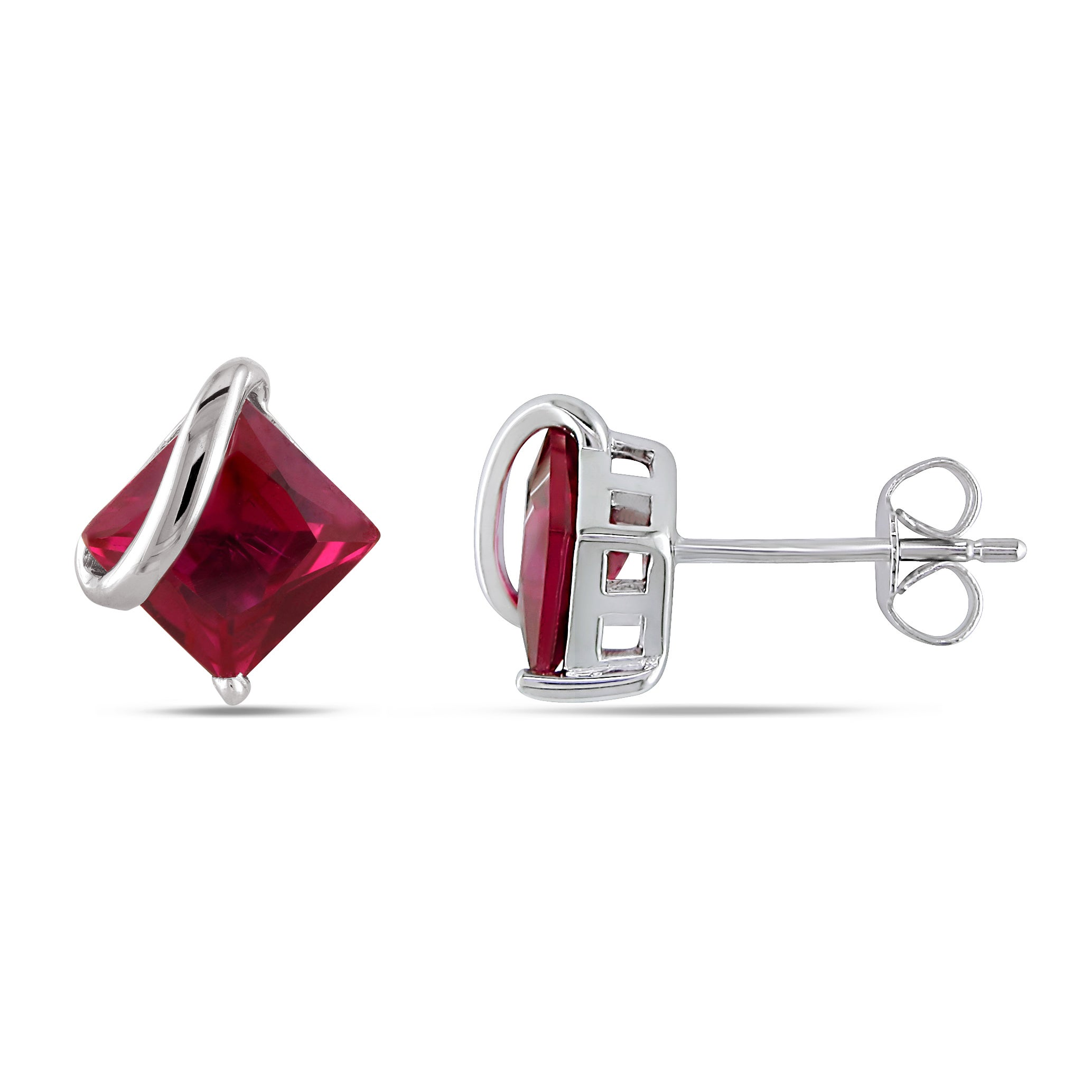 Miadora 10k White Gold Square Created Ruby Earrings On Free Shipping Today 3884858