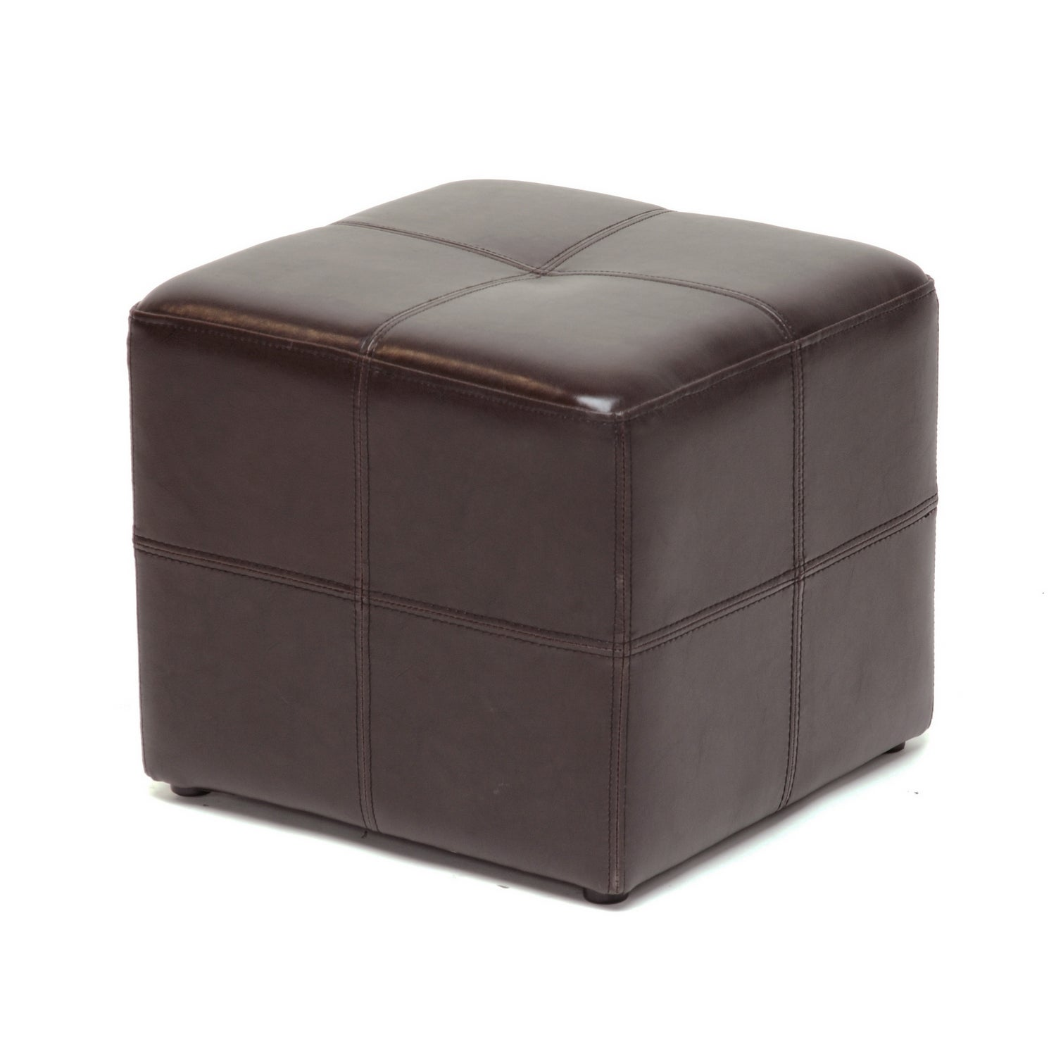 Shop baxton studio ashton dark brown faux leather cube ottoman free shipping on orders over 45 overstock com 3915075