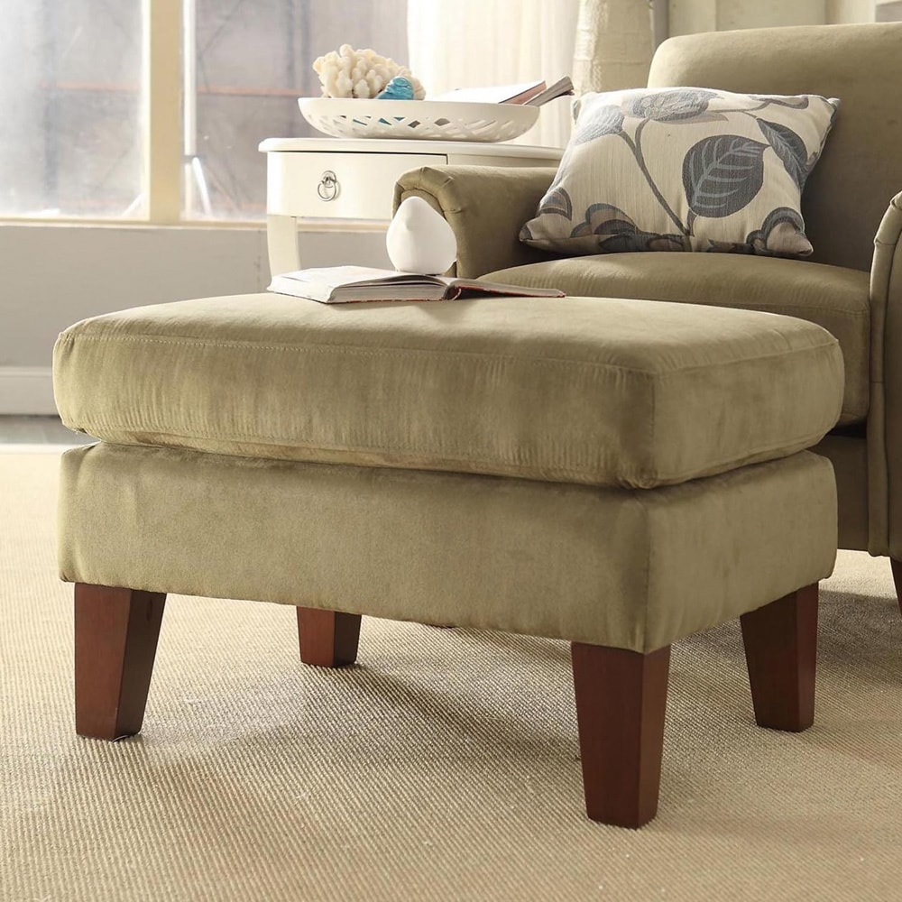 Shop tribecca home uptown sage microfiber suede modern ottoman free shipping today overstock com 3915281