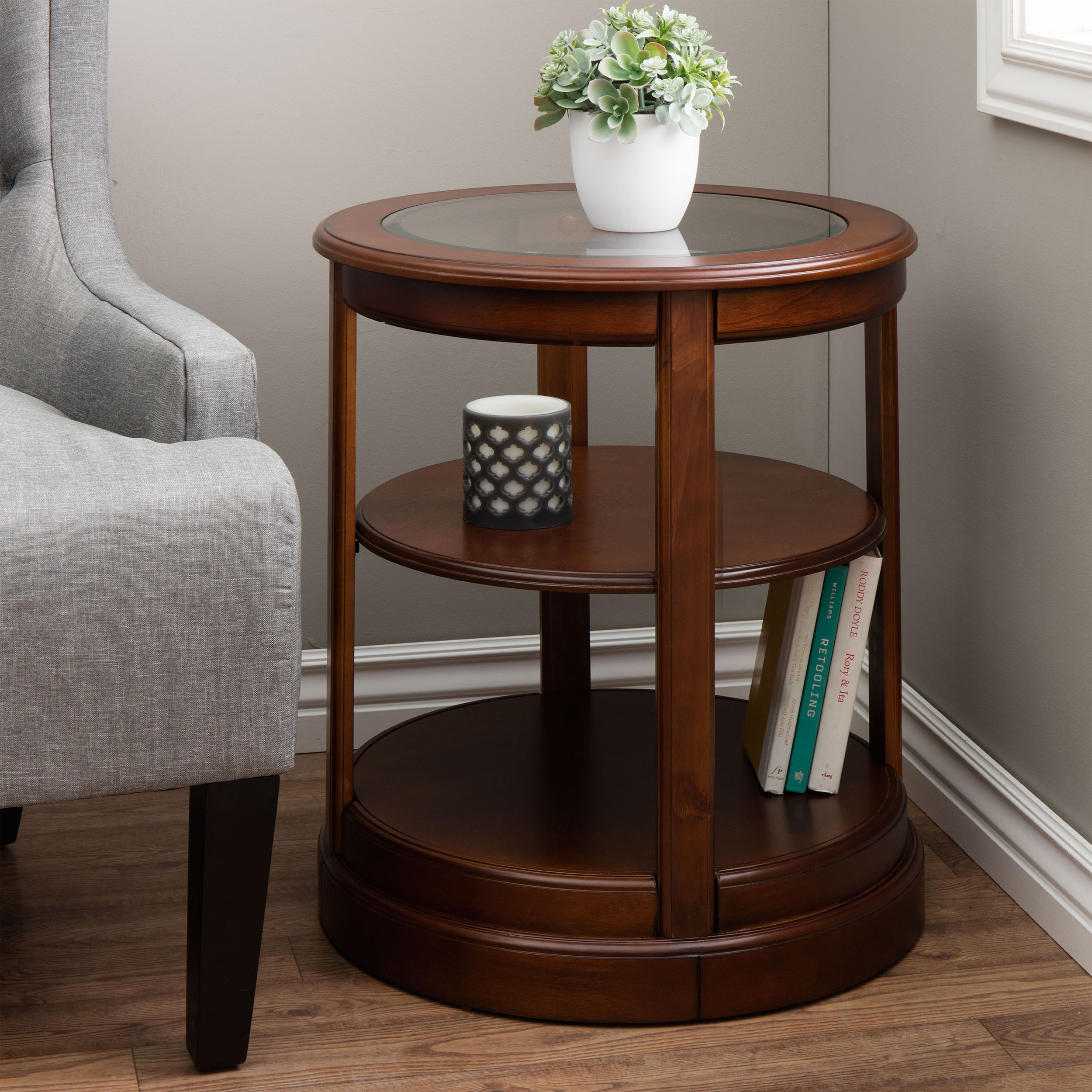 Shop Copper Grove Round Wooden End Table With Glass Top   Free Shipping  Today   Overstock.com   3916321