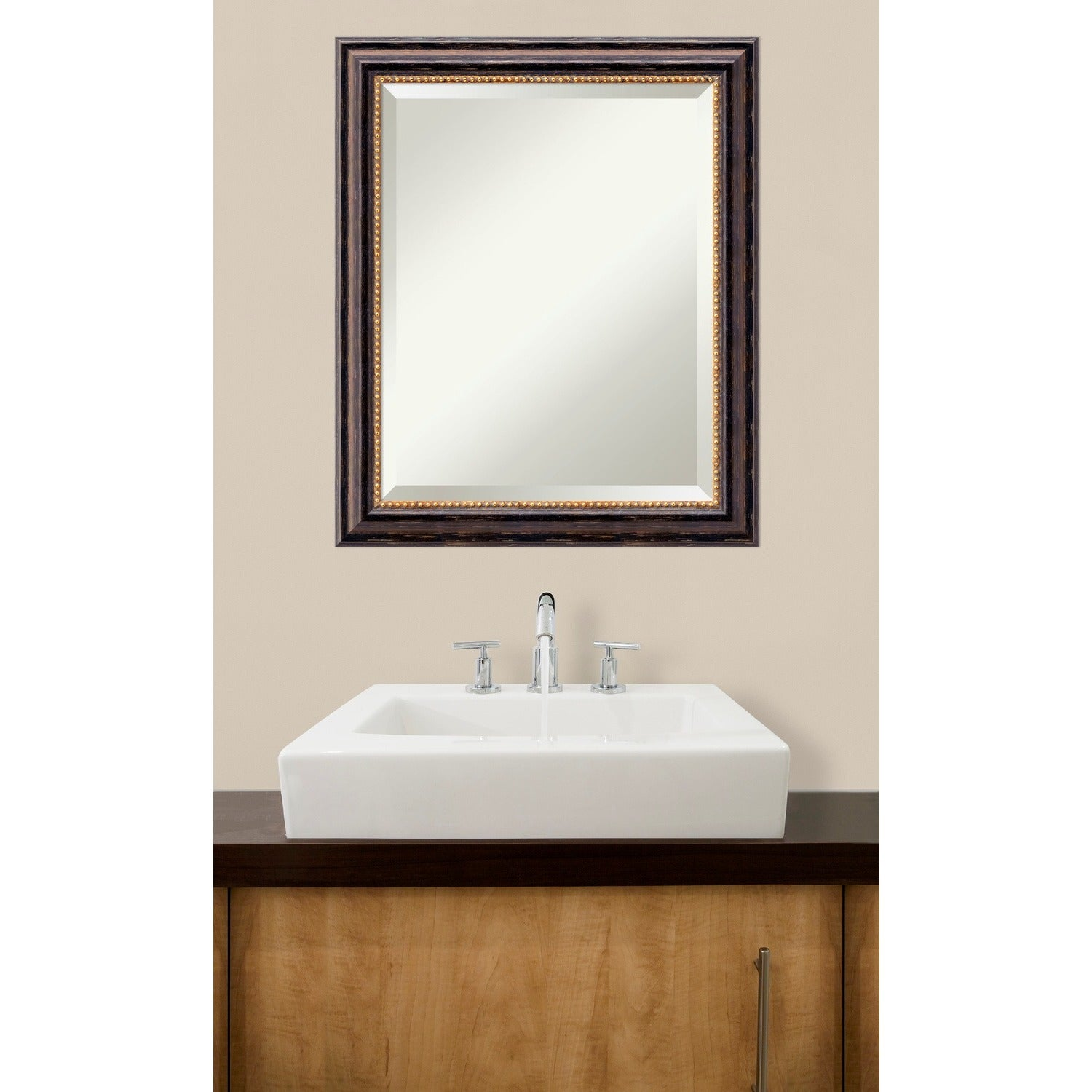 wall mirror tuscan rustic wood black bronze free shipping