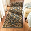 Safavieh Handmade Exquisite Blue/ Gold Wool Runner (2'3 x 8')
