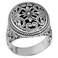 Handmade Sterling Silver Round Ornamented 'Cawi' Ring (Indonesia)