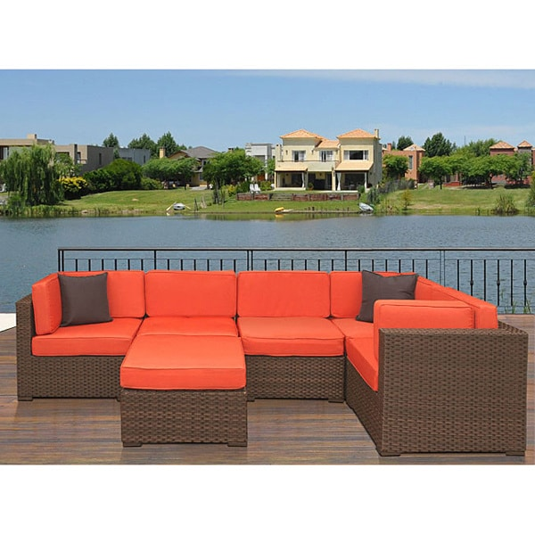 Atlantic Modena 6 Piece Patio Set With Orange Cushions