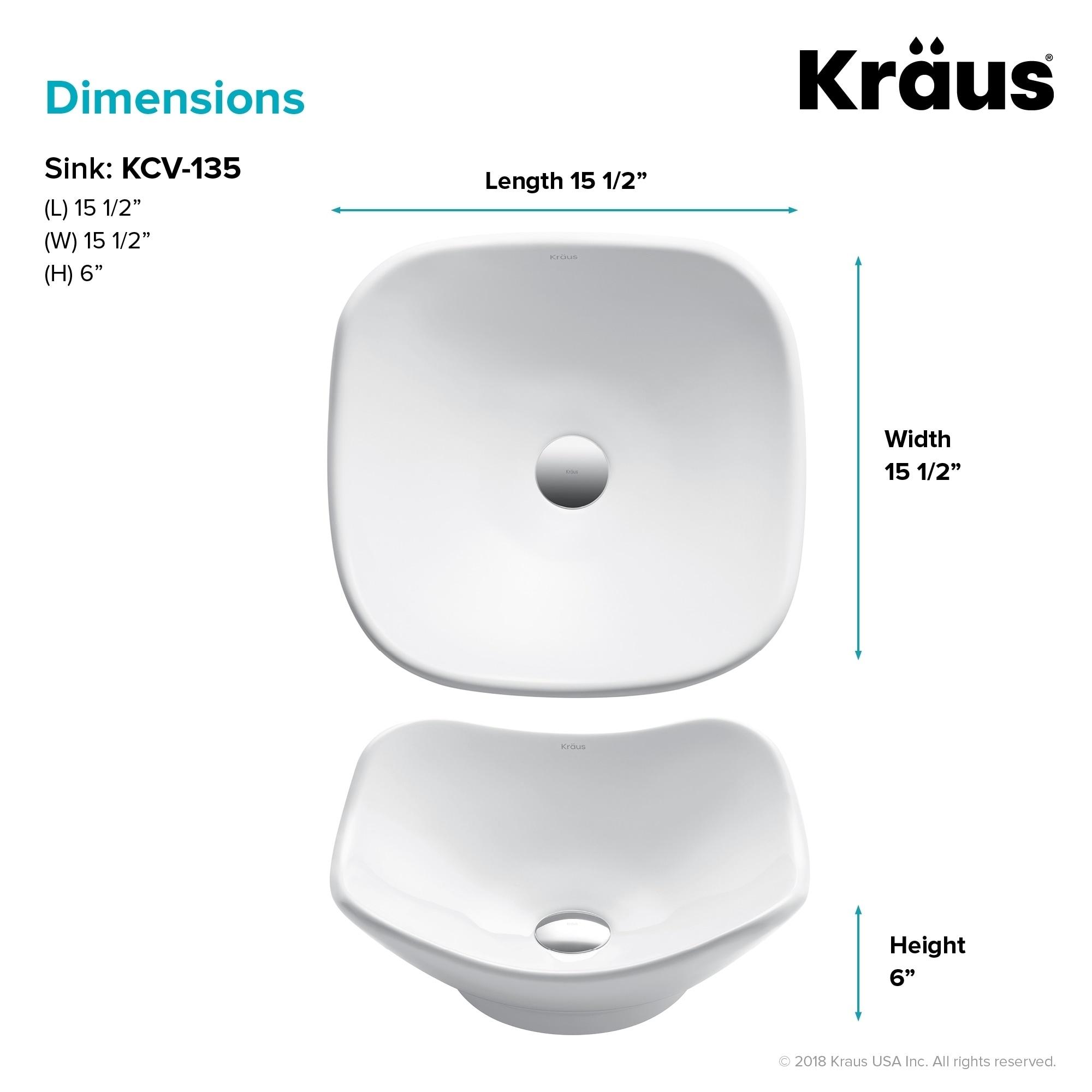 Shop Kraus Kcv 135 Elavo 15 12 Inch Square Vessel Porcelain Ceramic