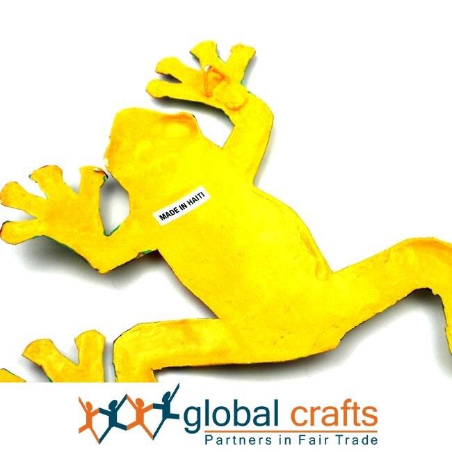 Recycled Oil Drum Yellow Frog Wall Art , Handmade in Haiti - Free ...