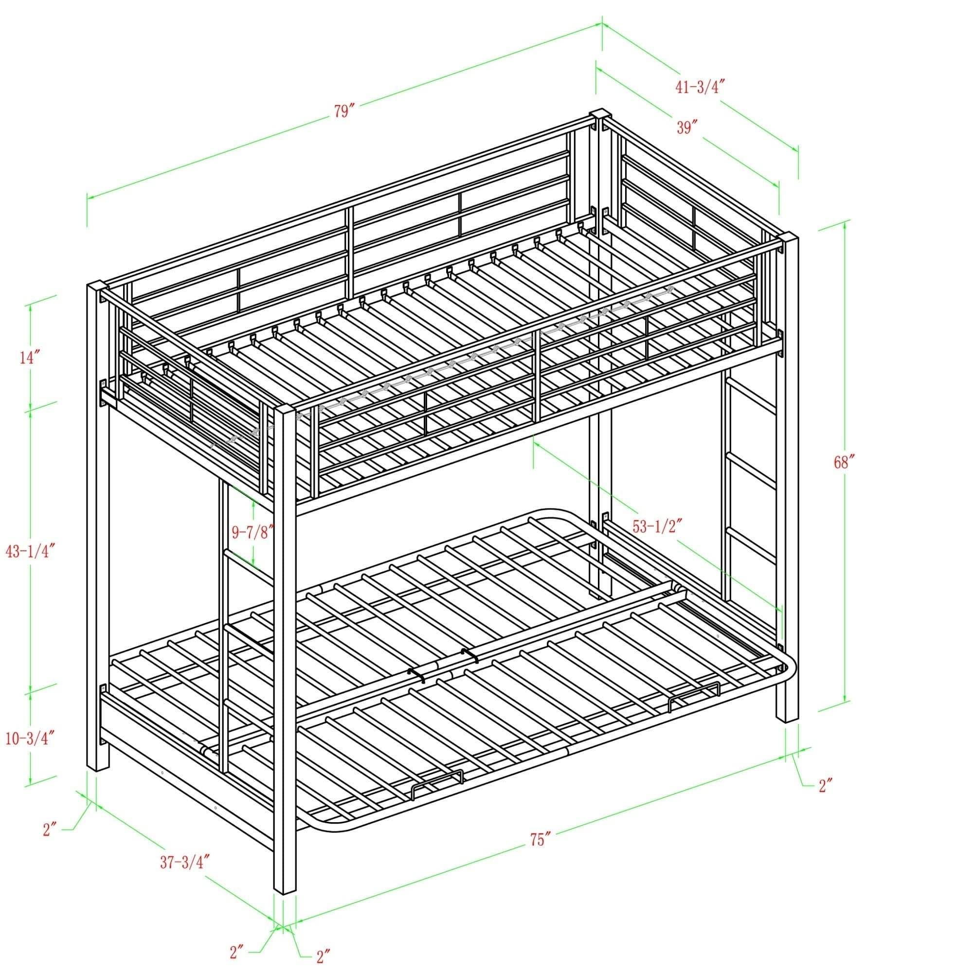 White Metal Twin Bunk Bed With Futon Free Shipping Today Com 3992661
