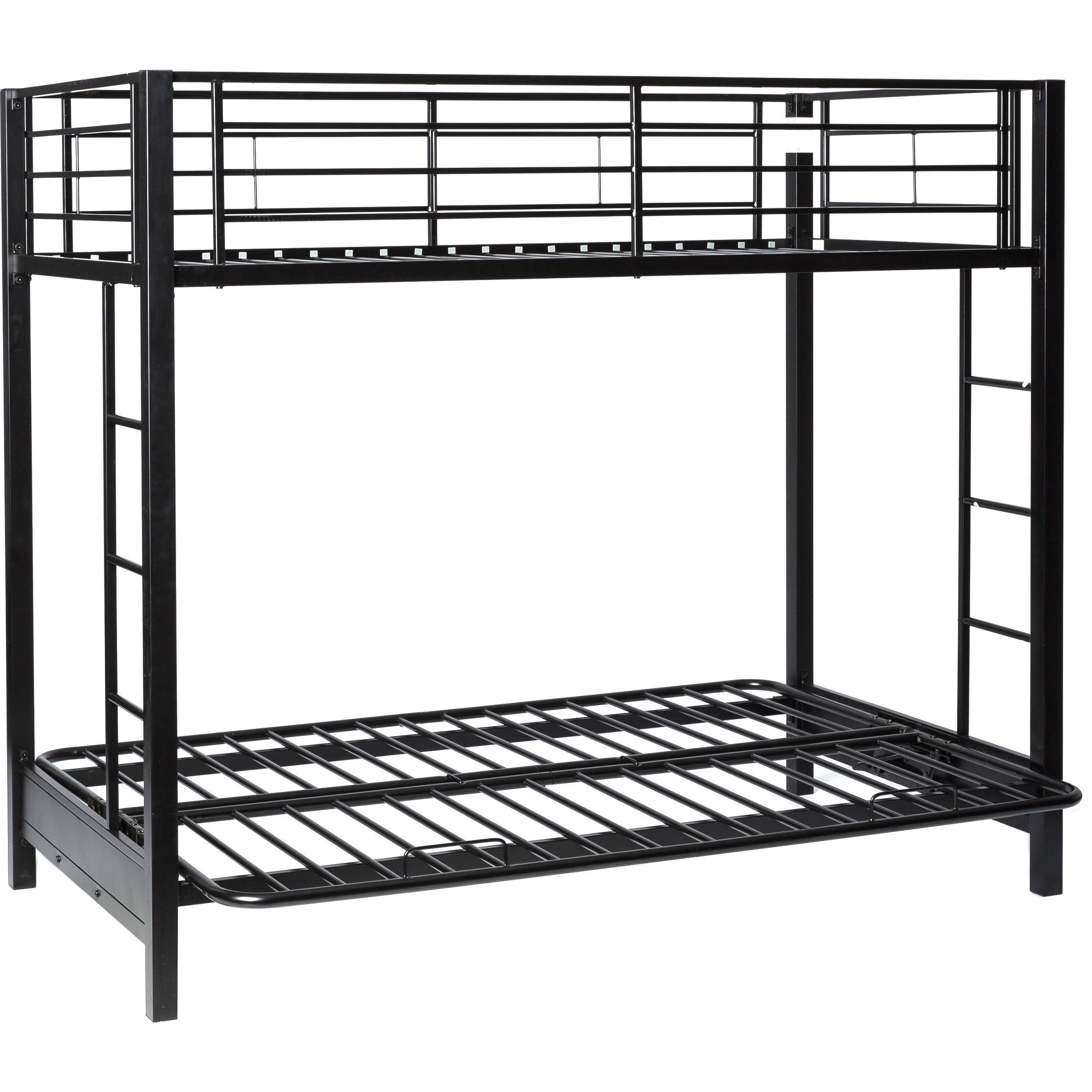 modern black metal twin bunk bed with futon   free shipping today   overstock     12021639 modern black metal twin bunk bed with futon   free shipping today      rh   overstock