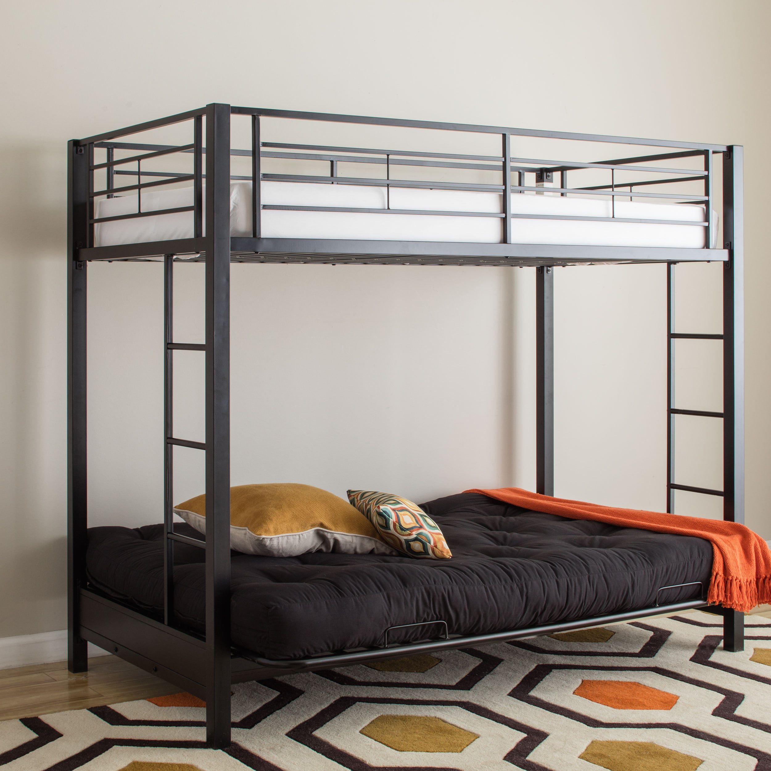 modern black metal twin bunk bed with futon - free shipping today