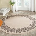 Safavieh Ocean Sand/ Black Indoor/ Outdoor Rug (6'7 Round)