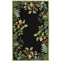 Safavieh Hand-hooked Safari Black/ Green Wool Rug (3'9 x 5'9)