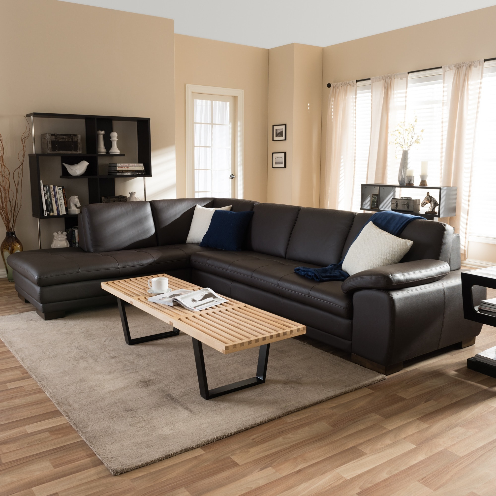 Shop Angela Dark Brown 2-piece Leather Sectional Sofa - Free ...