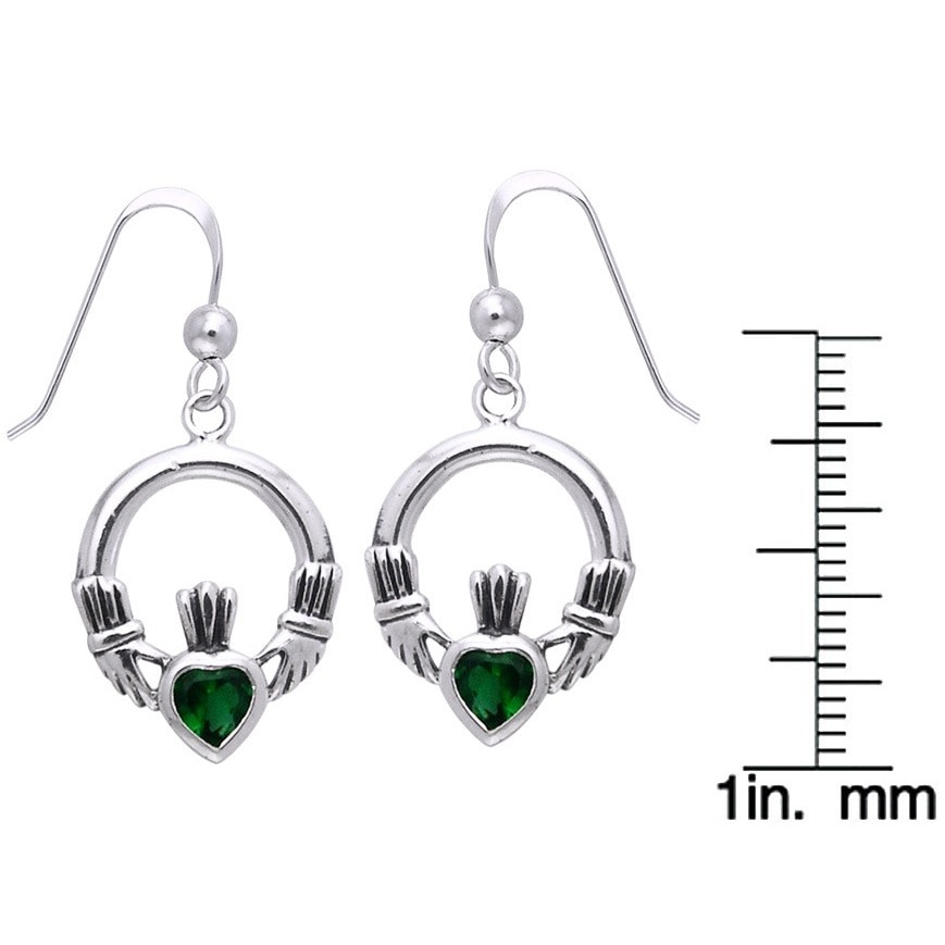 Sterling Silver Celtic Claddagh Created Emerald Dangle Earrings Green Free Shipping On Orders Over 45 12085020