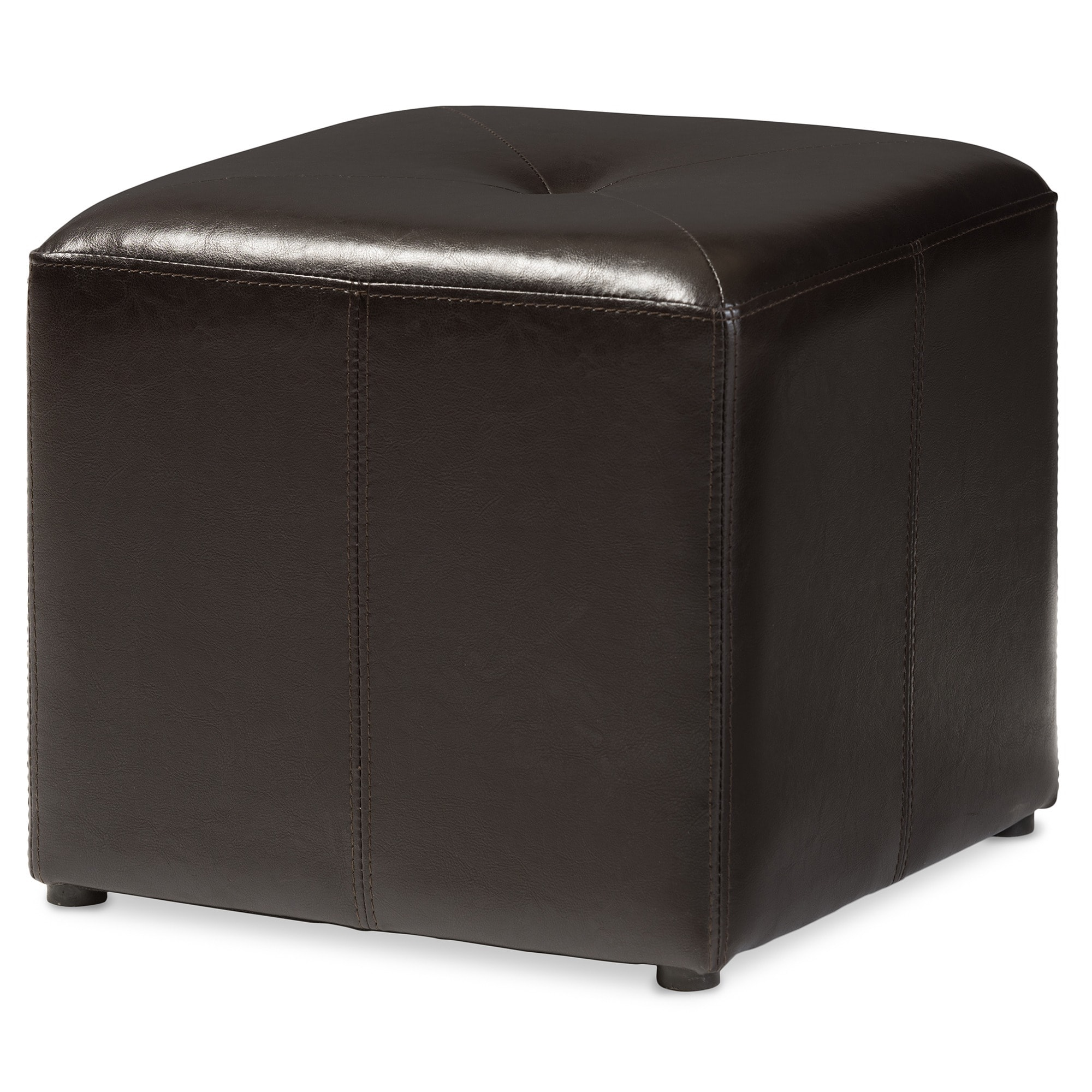 Shop dark brown bonded leather cube ottoman free shipping on orders over 45 overstock com 4092971