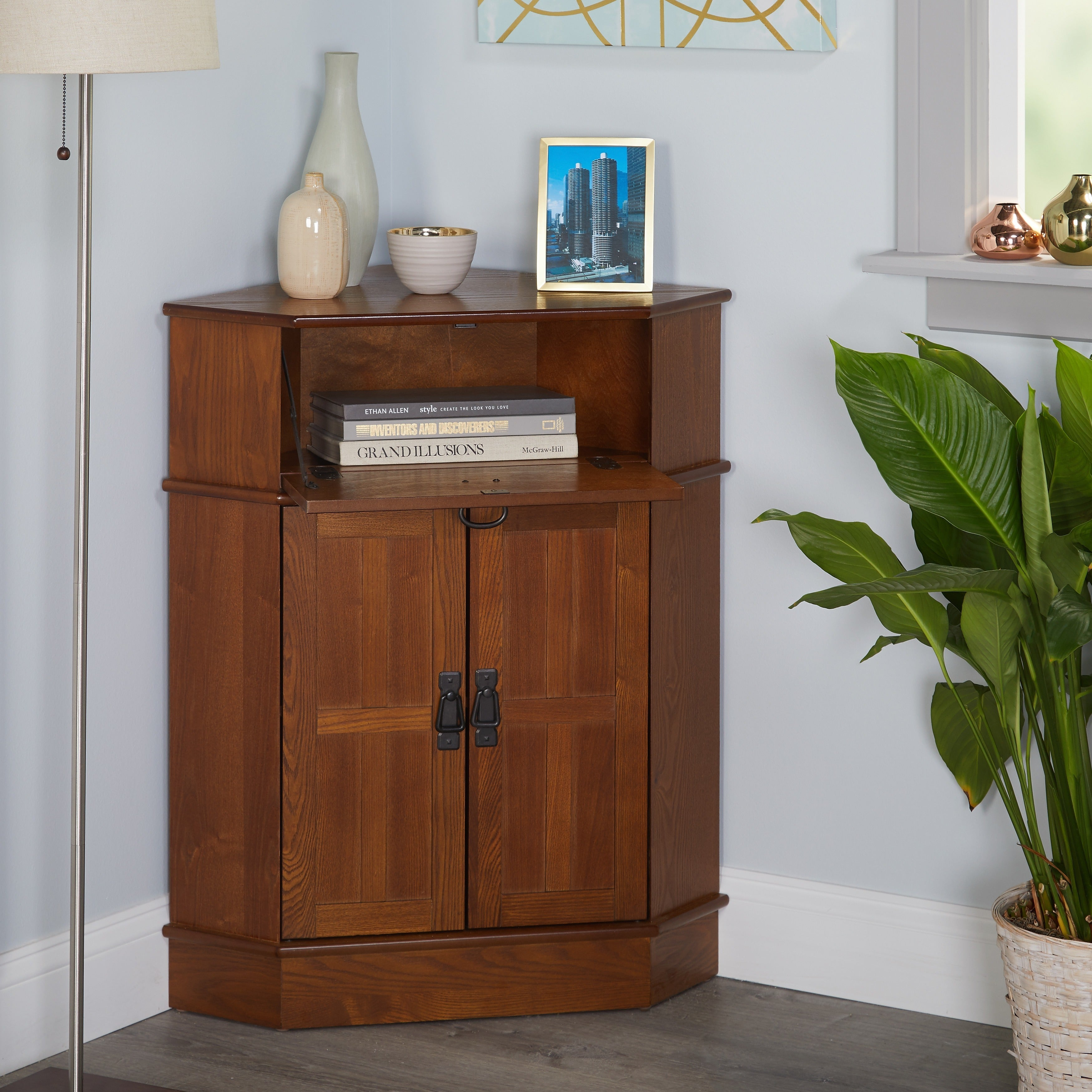 Simple Living Mission Corner Cabinet   Free Shipping Today   Overstock.com    12108652