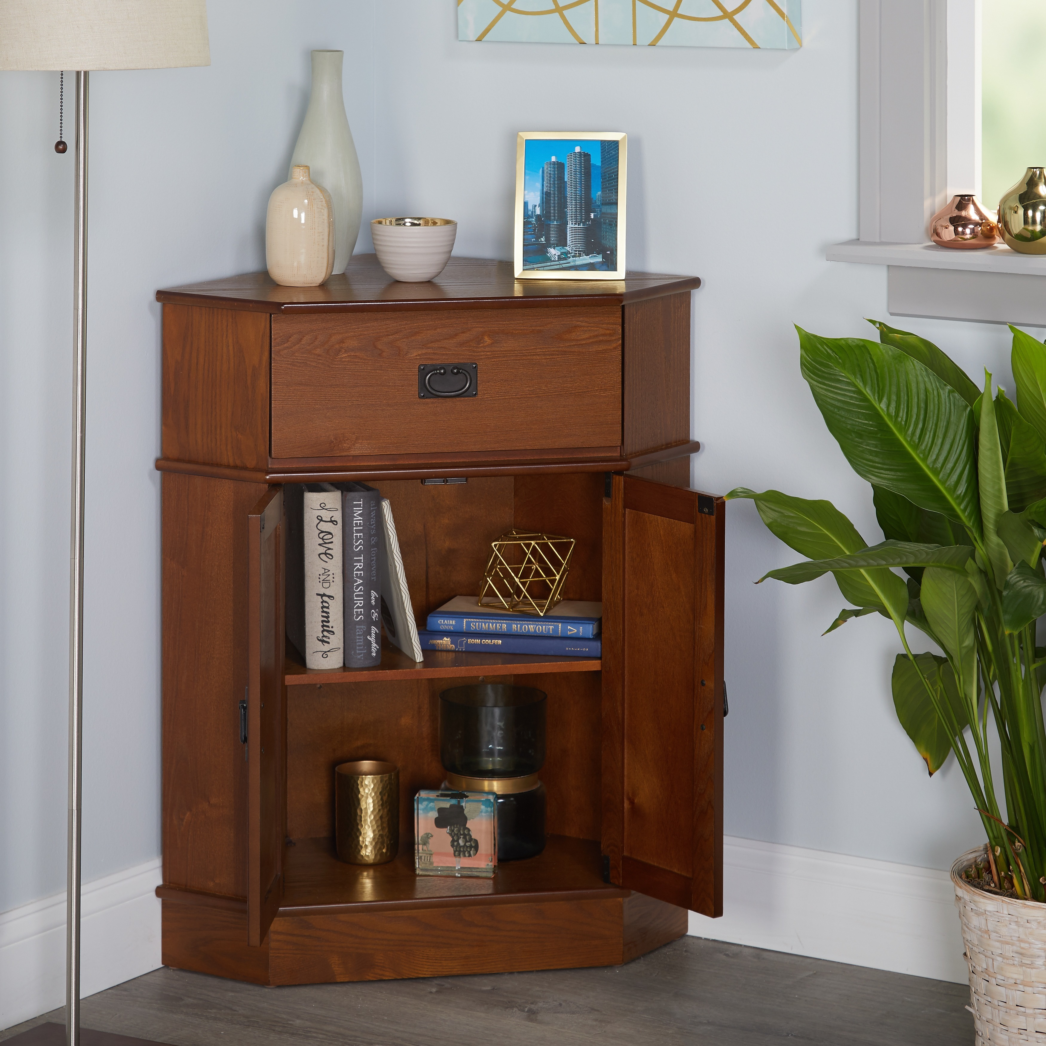 Simple Living Mission Corner Cabinet - Free Shipping Today - Overstock.com  - 12108652
