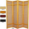 Handmade Wood and Jute 6-foot 4-panel Room Divider (China)