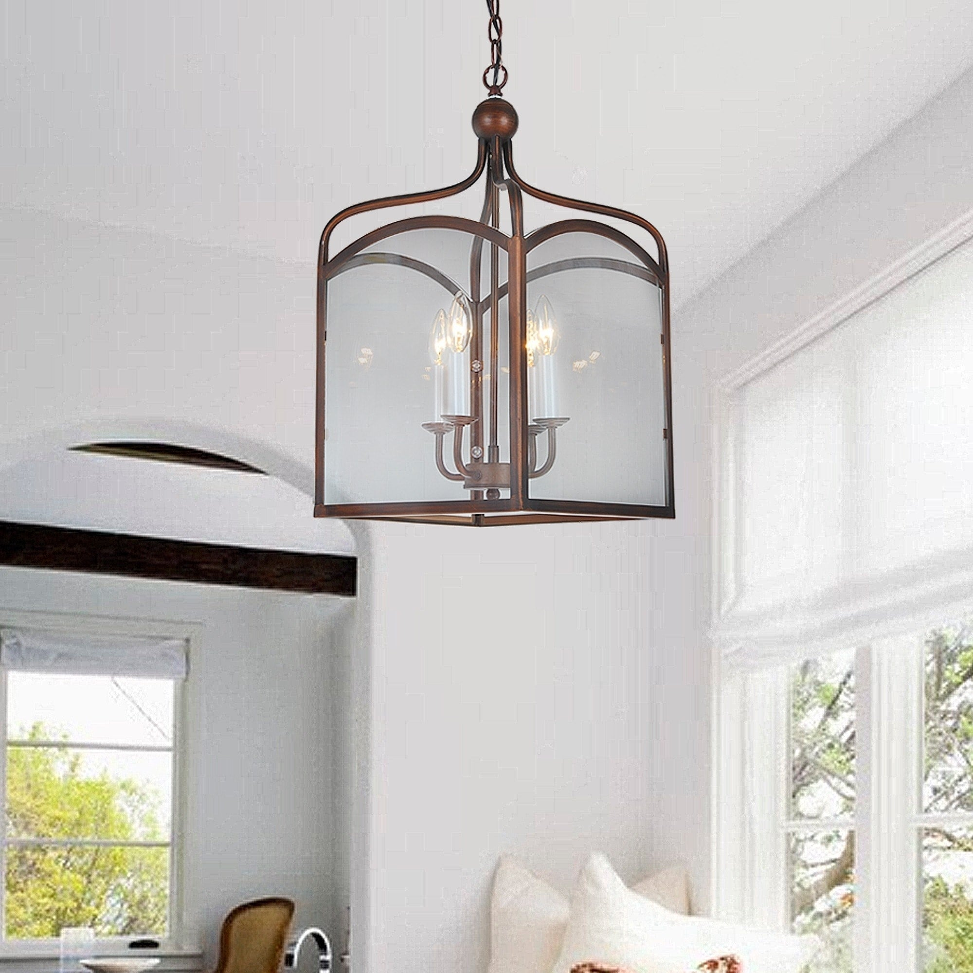 Shop Antiqued Copper 4-light Lantern Chandelier - Free Shipping ...